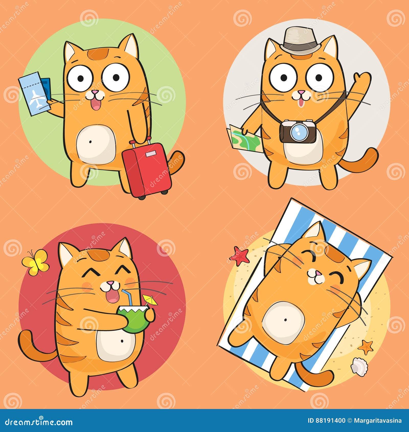 逗人喜爱的猫字符暑假