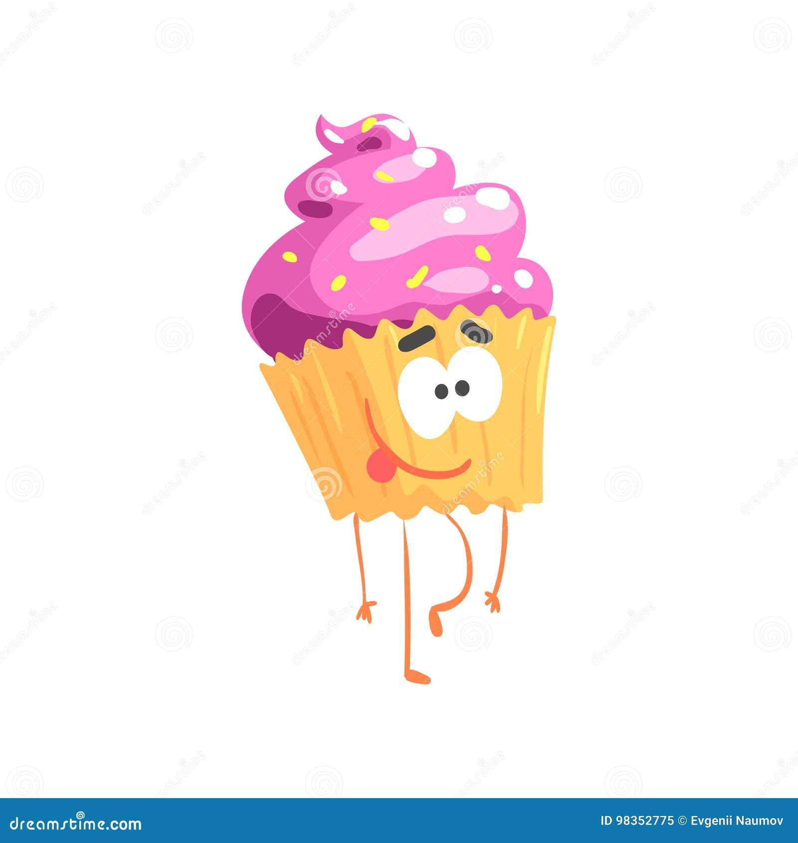 逗人喜爱的甜杯形蛋糕字符,动画片滑稽的点心传染媒介例证