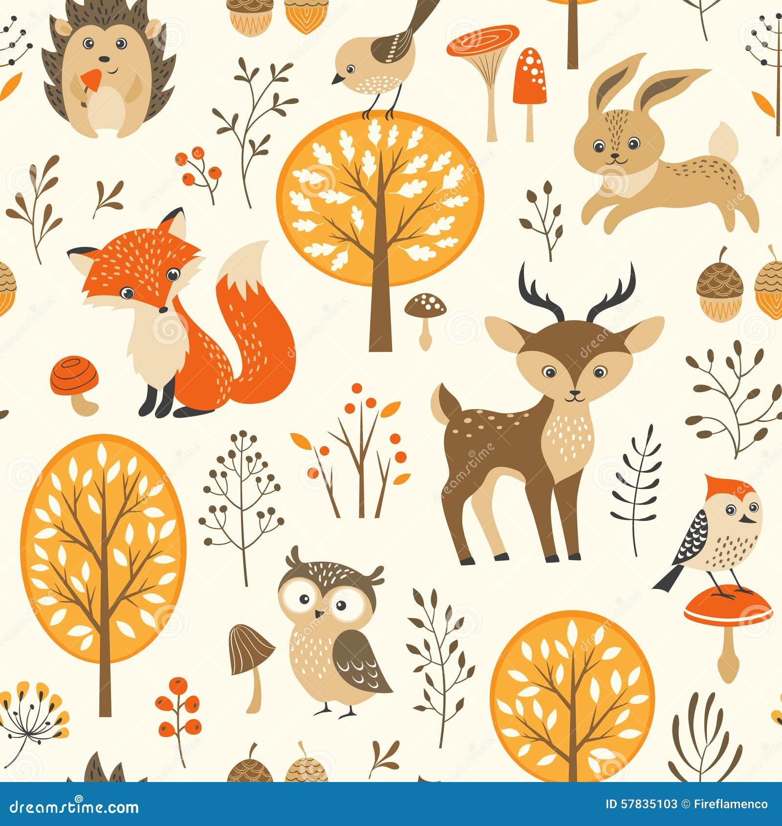 逗人喜爱的秋天森林样式