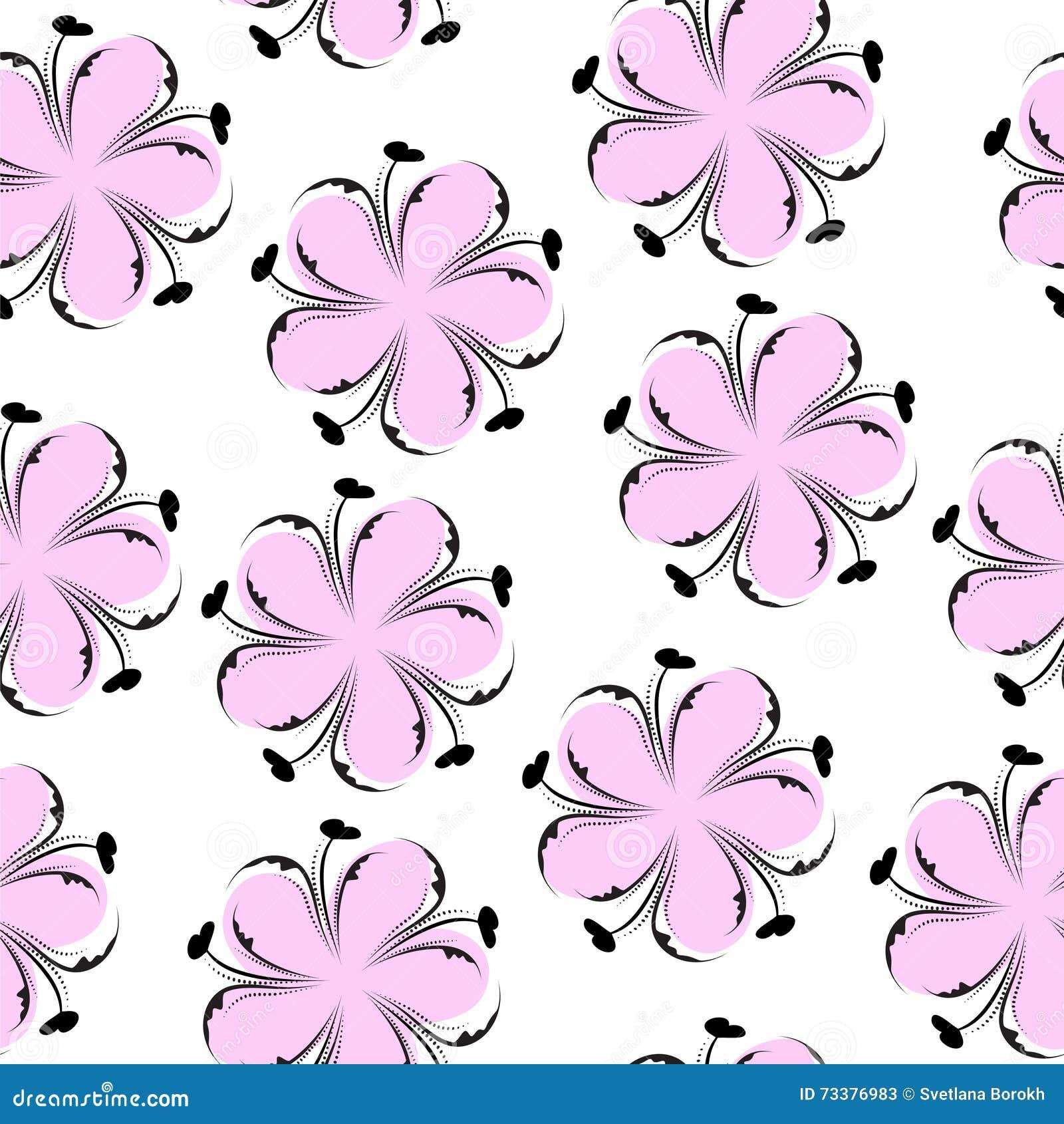 逗人喜爱的花卉无缝的样式,桃红色花卉背景 柔和的墙纸 花纹理
