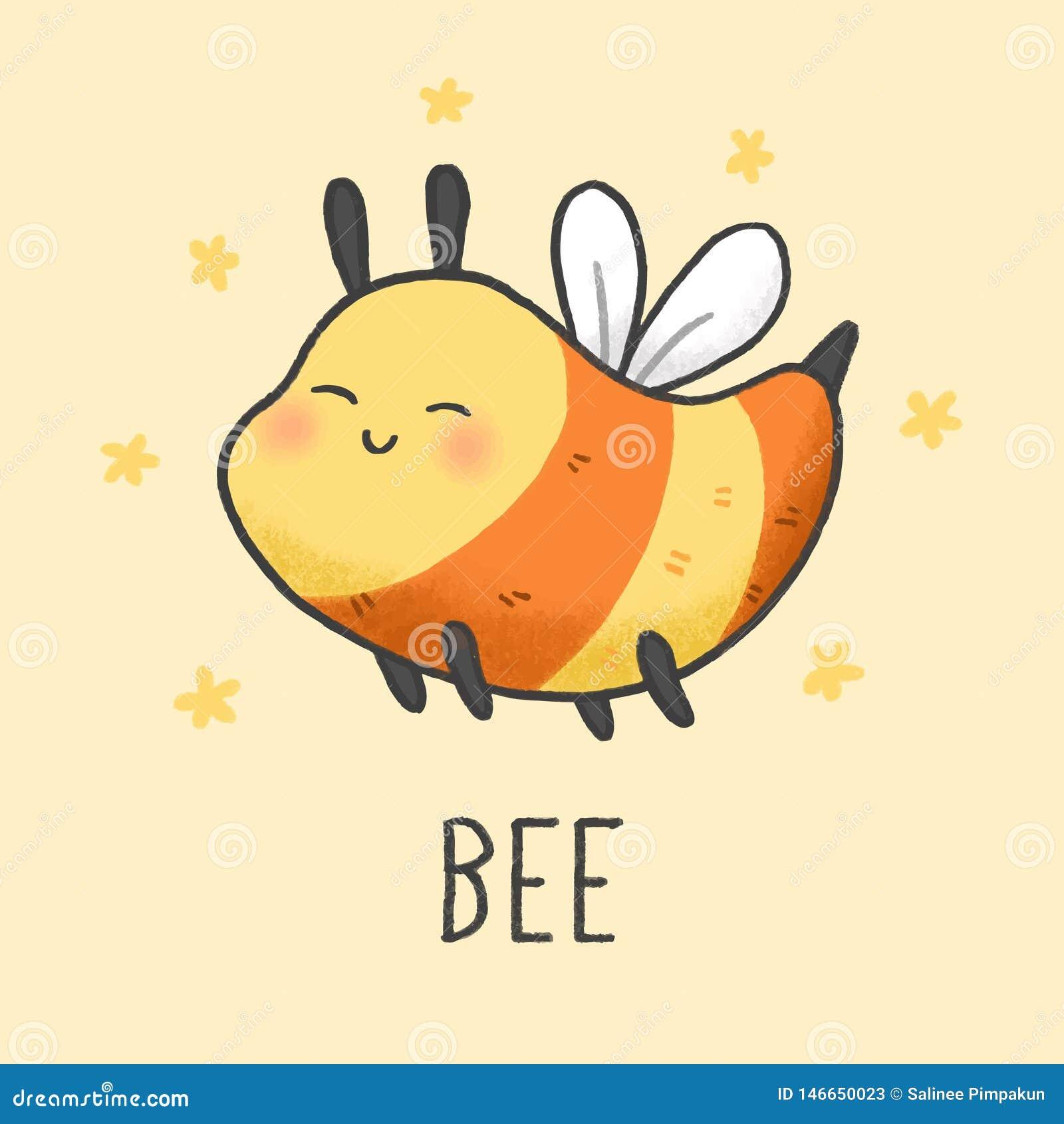 逗人喜爱的蜂动画片手拉的样式