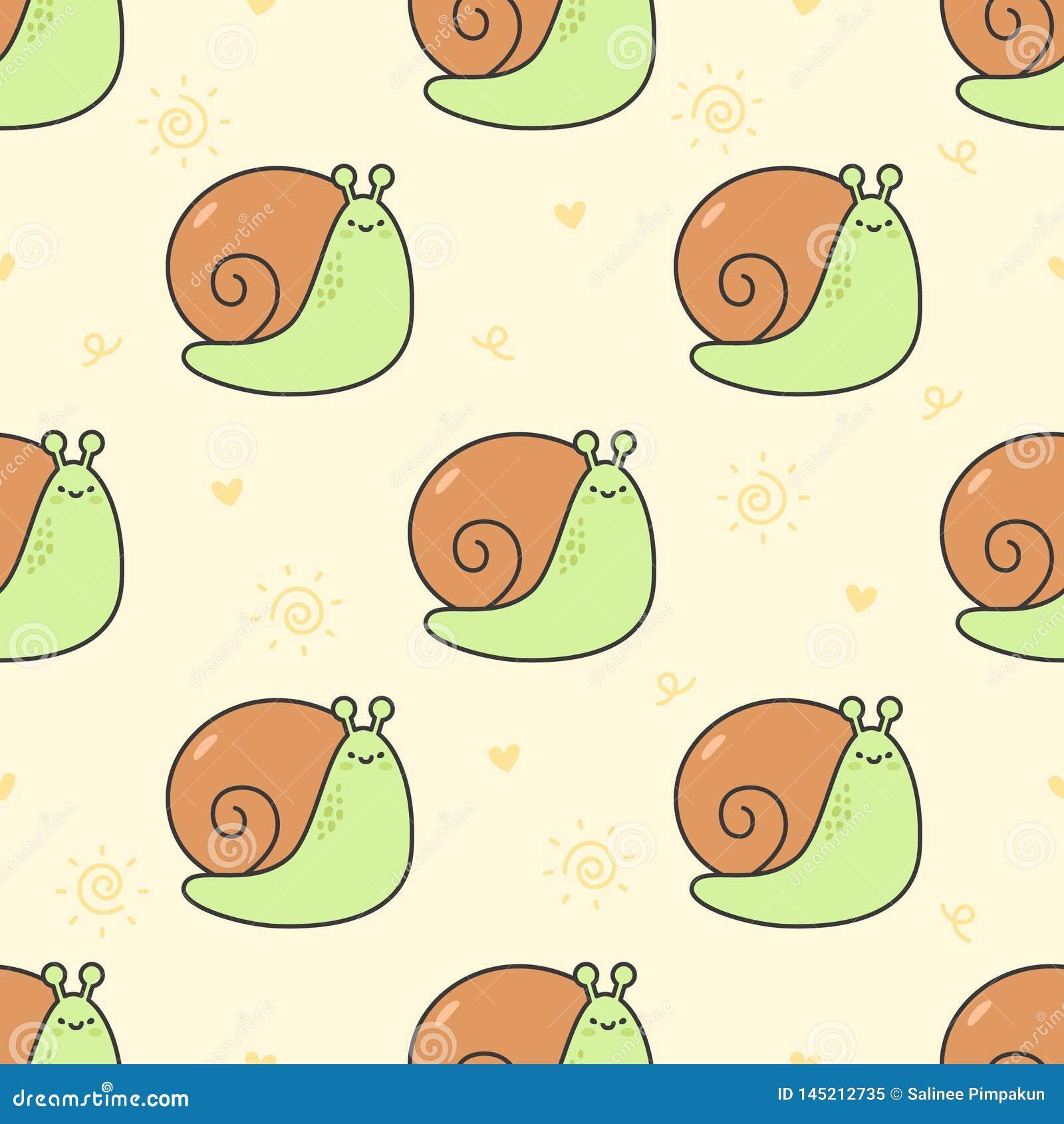 逗人喜爱的蜗牛无缝的样式背景