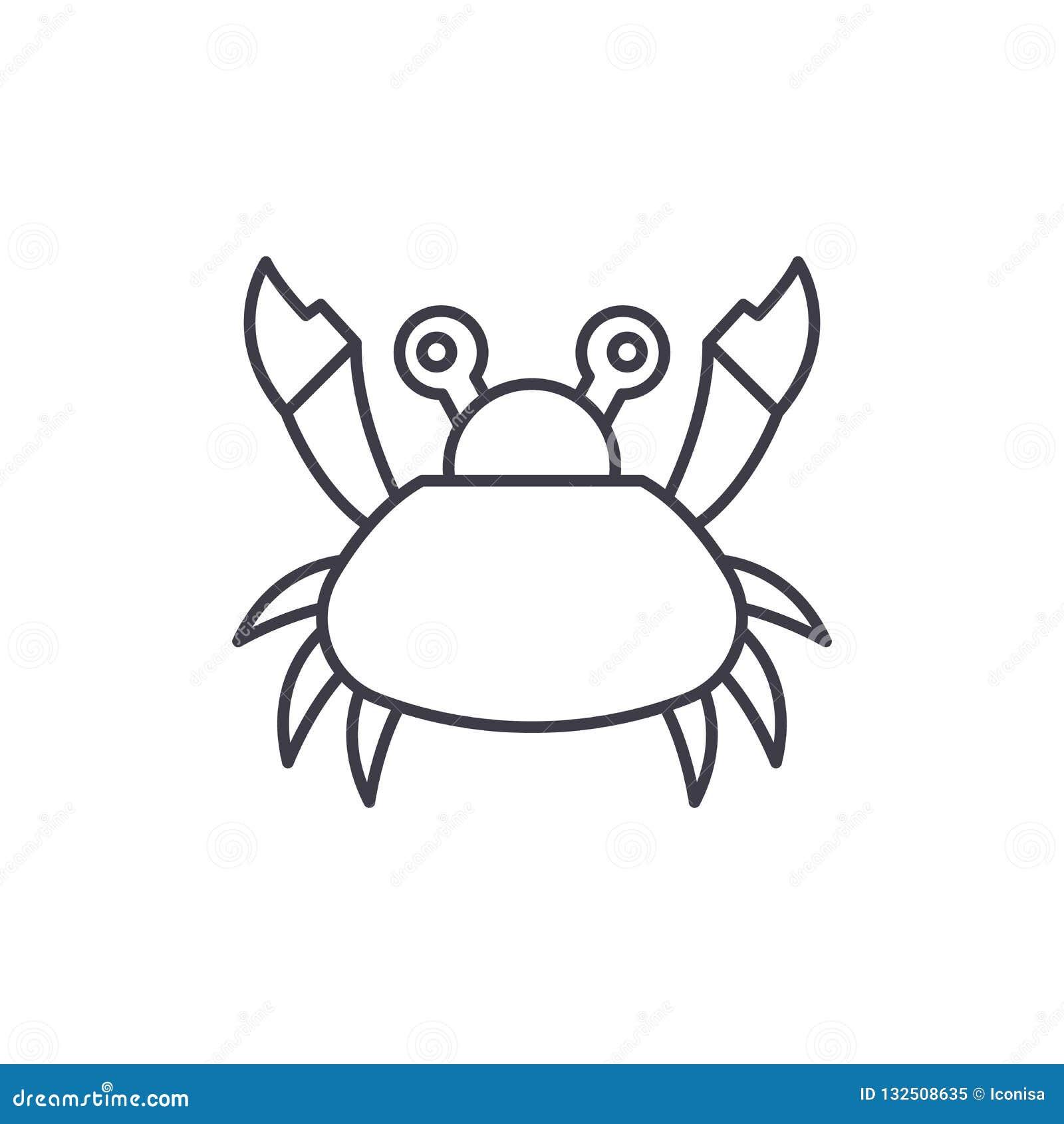 逗人喜爱的螃蟹线象概念 逗人喜爱的螃蟹传染媒介线性例证,标志,标志