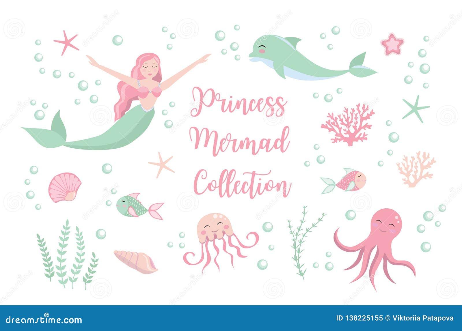 逗人喜爱的集合小的美人鱼公主和海豚,章鱼,鱼,水母,珊瑚 水下的世界收藏