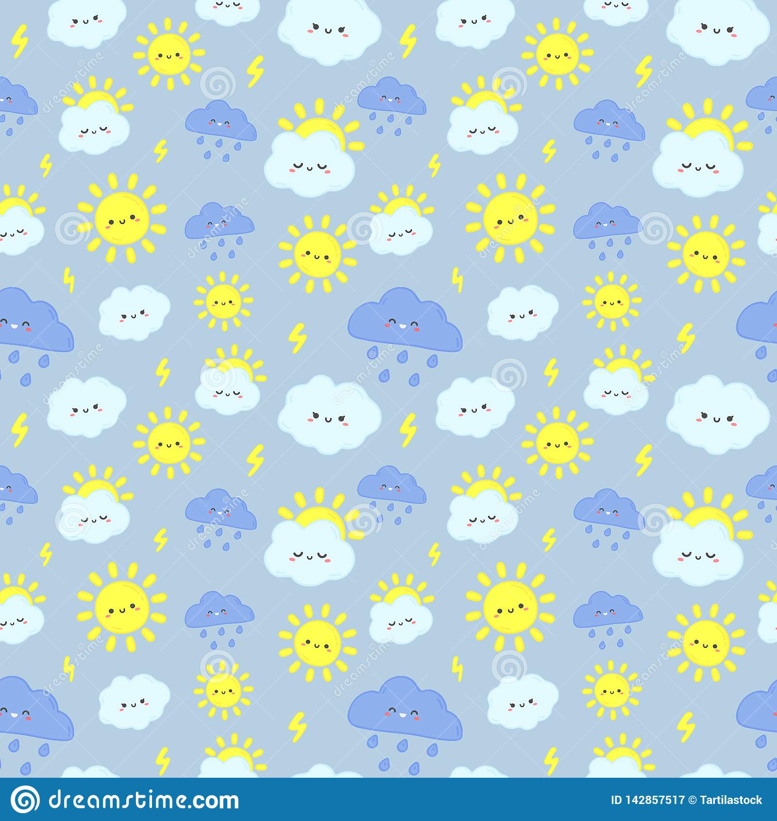 逗人喜爱的雨天空样式 微笑的愉快的太阳、雷云与闪电和下雨天云彩无缝的传染媒介例证