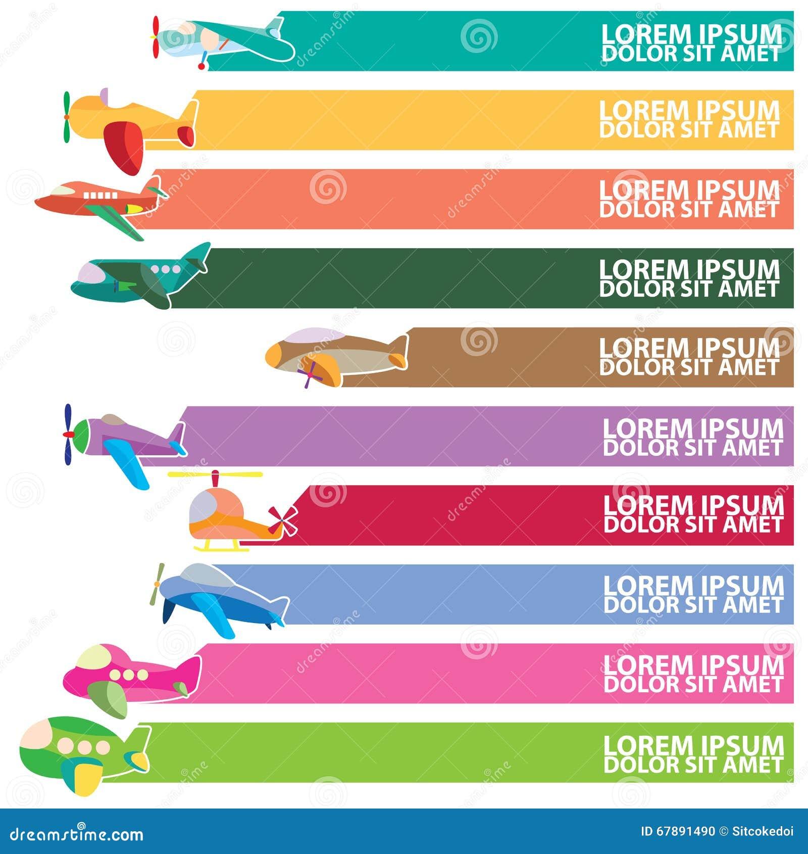 逗人喜爱的飞机象和颜色条纹为增加文本