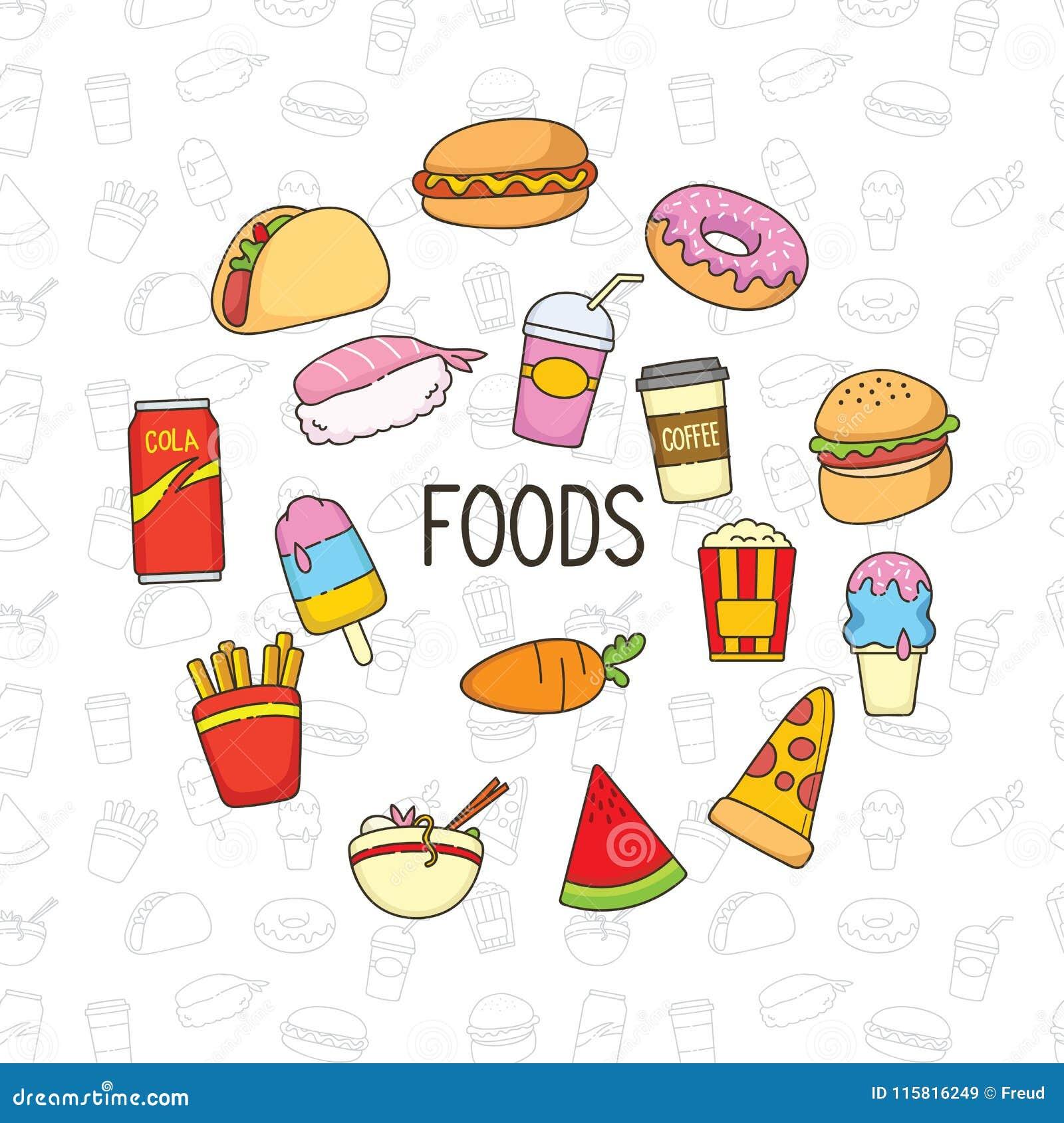 逗人喜爱的食物乱画对象和背景