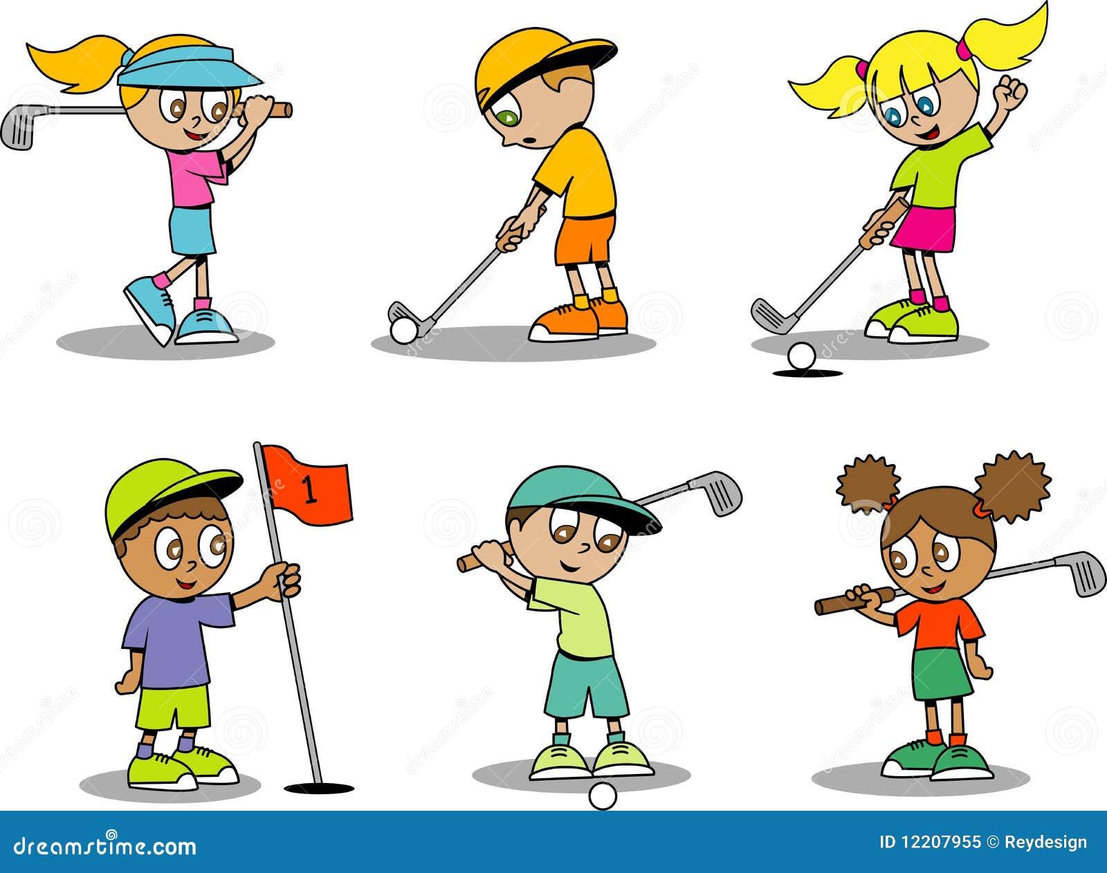 逗人喜爱的高尔夫球孩子