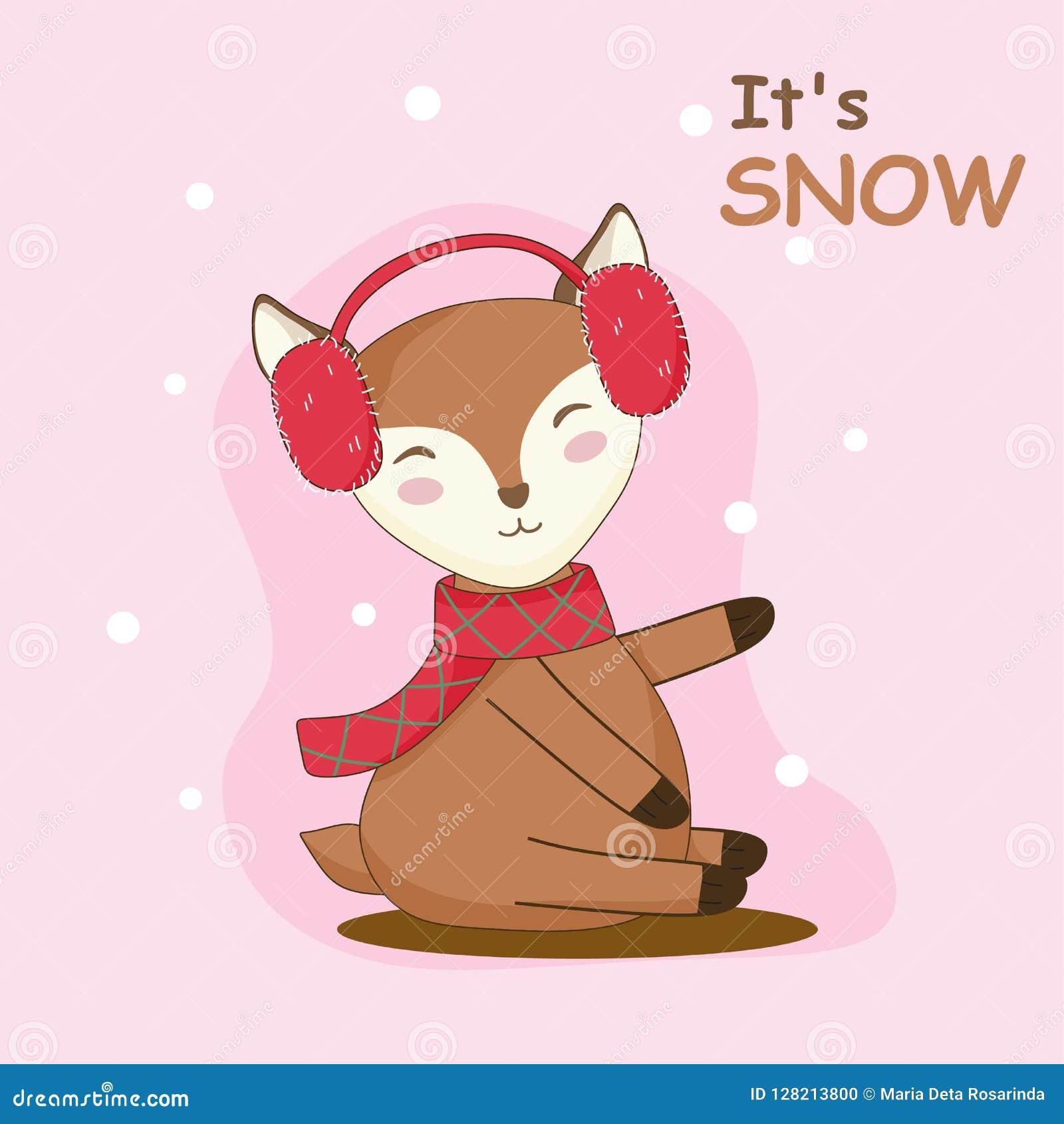 逗人喜爱的鹿图表享用雪