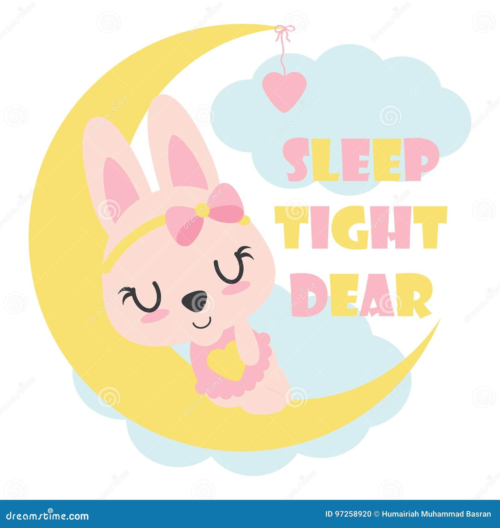 逗人喜爱的婴孩兔宝宝在月亮孩子T恤杉设计的动画片例证睡觉