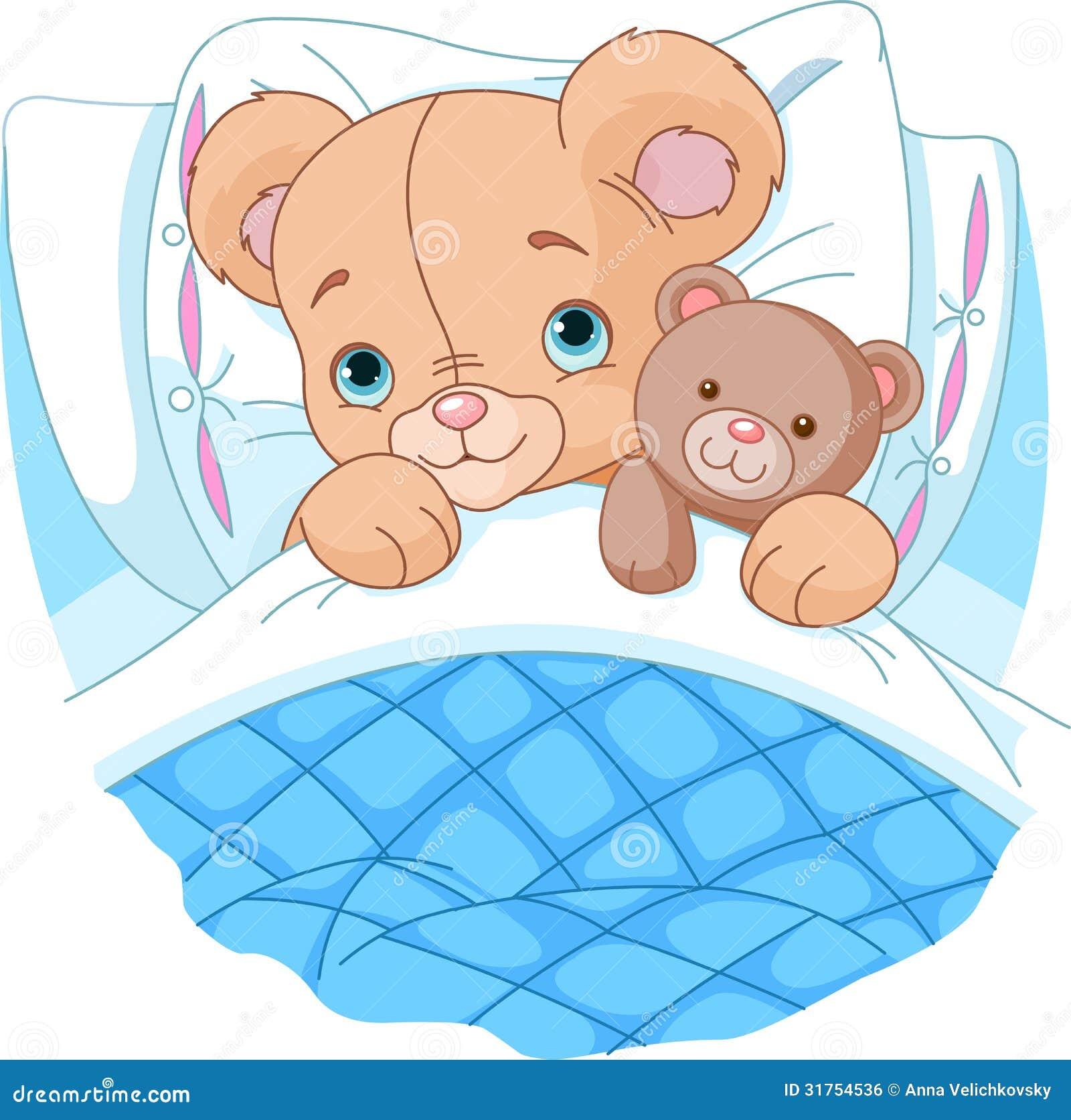 逗人喜爱的婴孩熊在床上图片