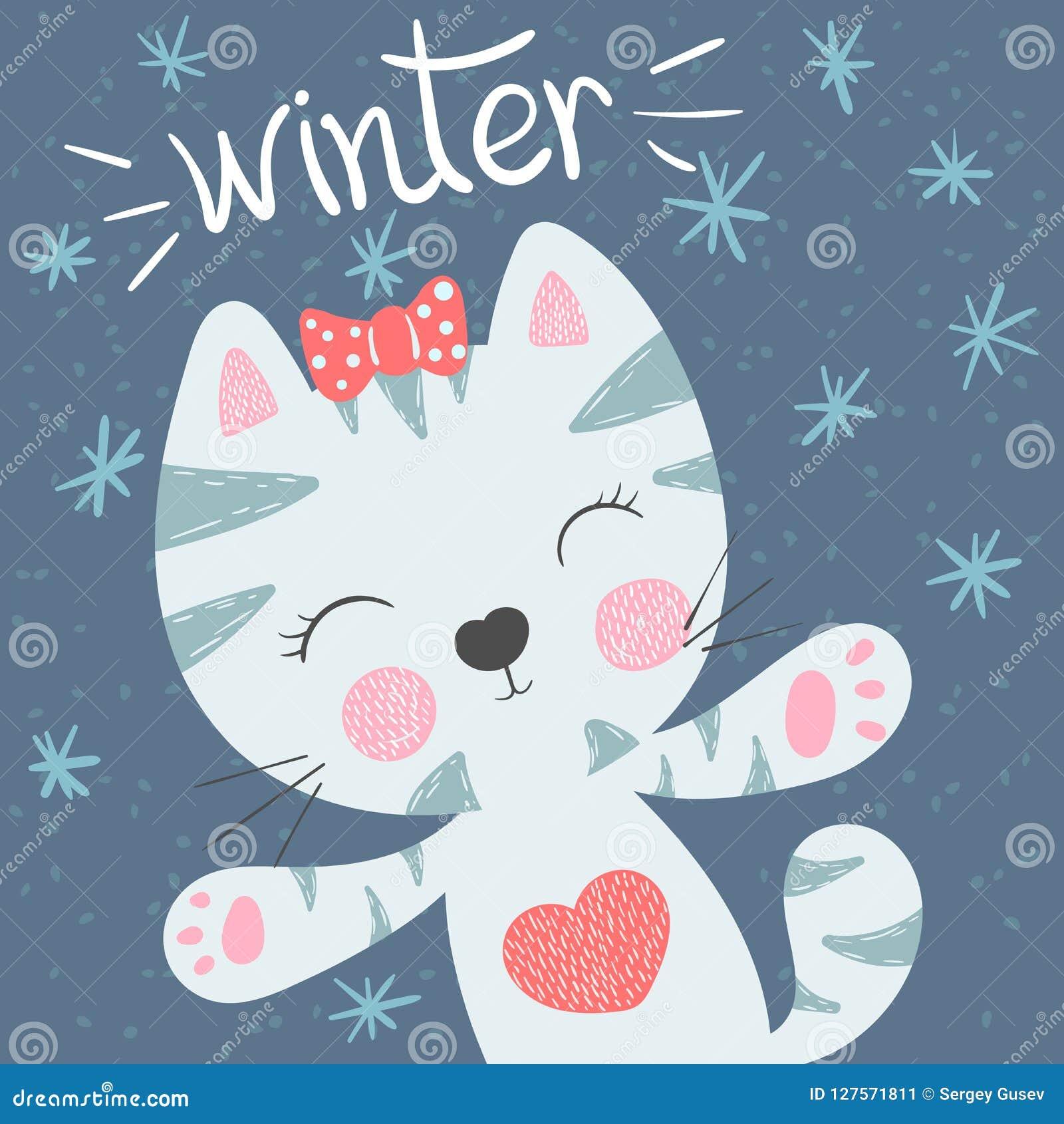 逗人喜爱,滑稽的猫 0 8可用的eps例证版本冬天 印刷品T恤杉的想法 小公主