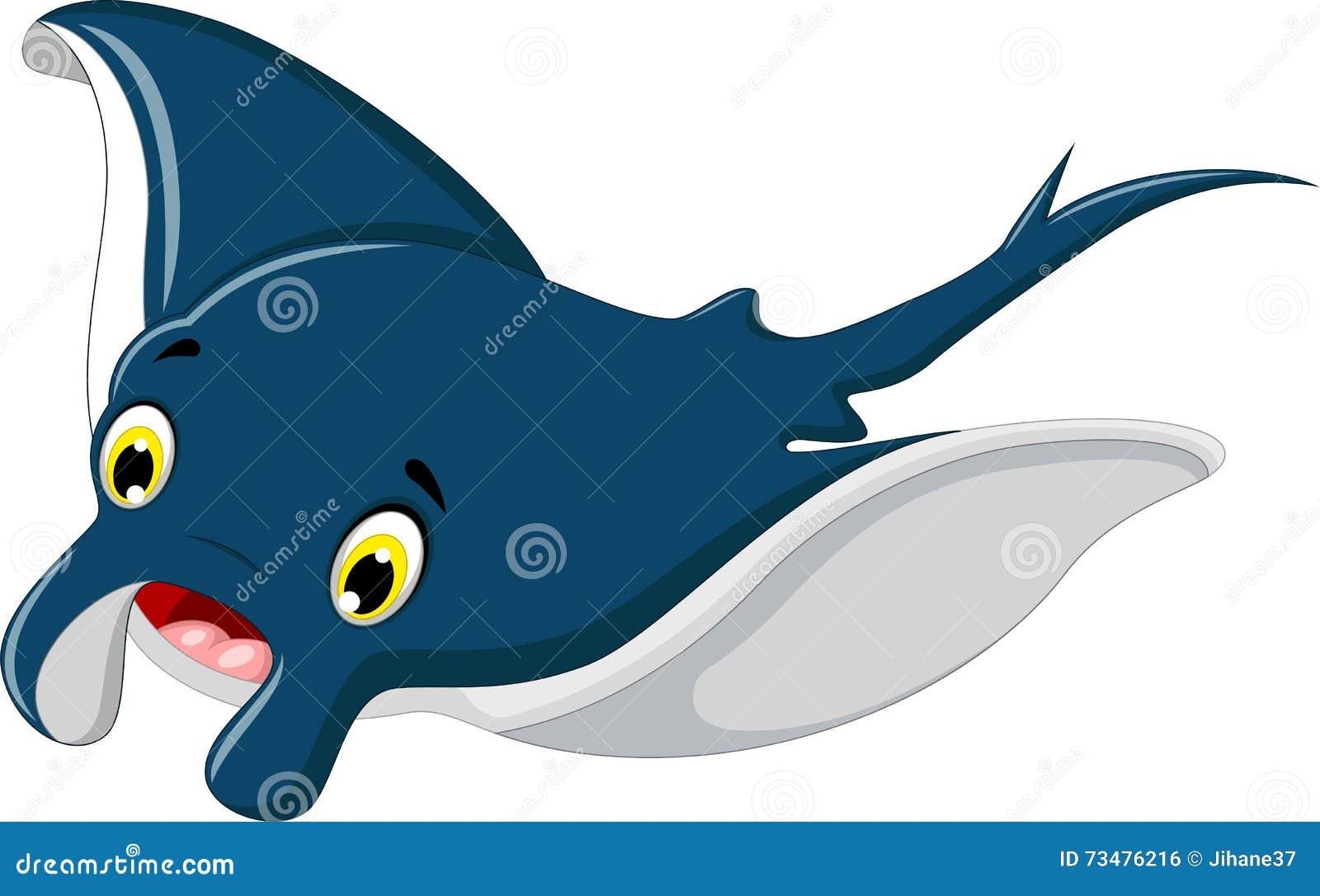 逗人喜爱黄貂鱼动画片微笑
