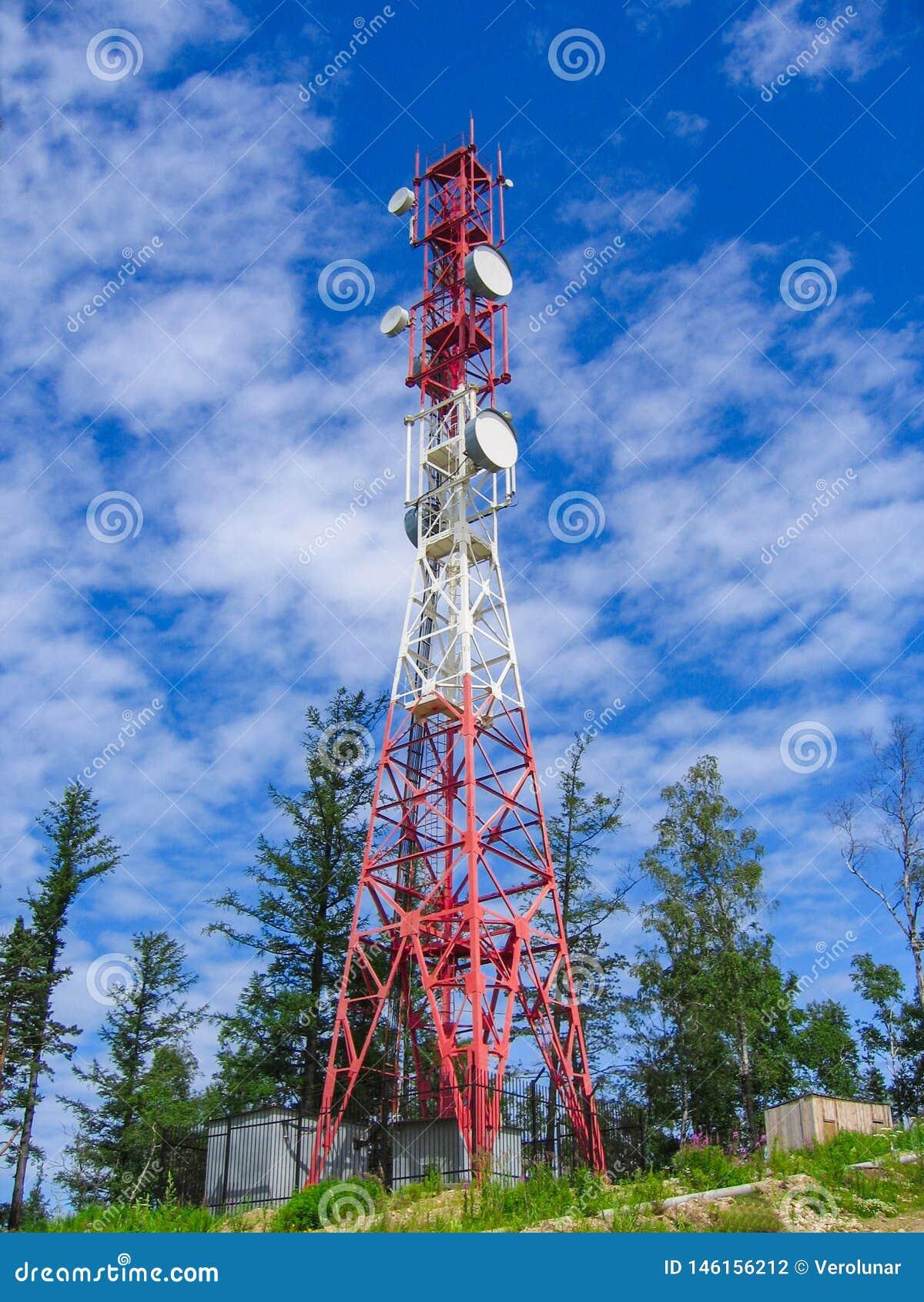 通信塔反对天空和绿色树的