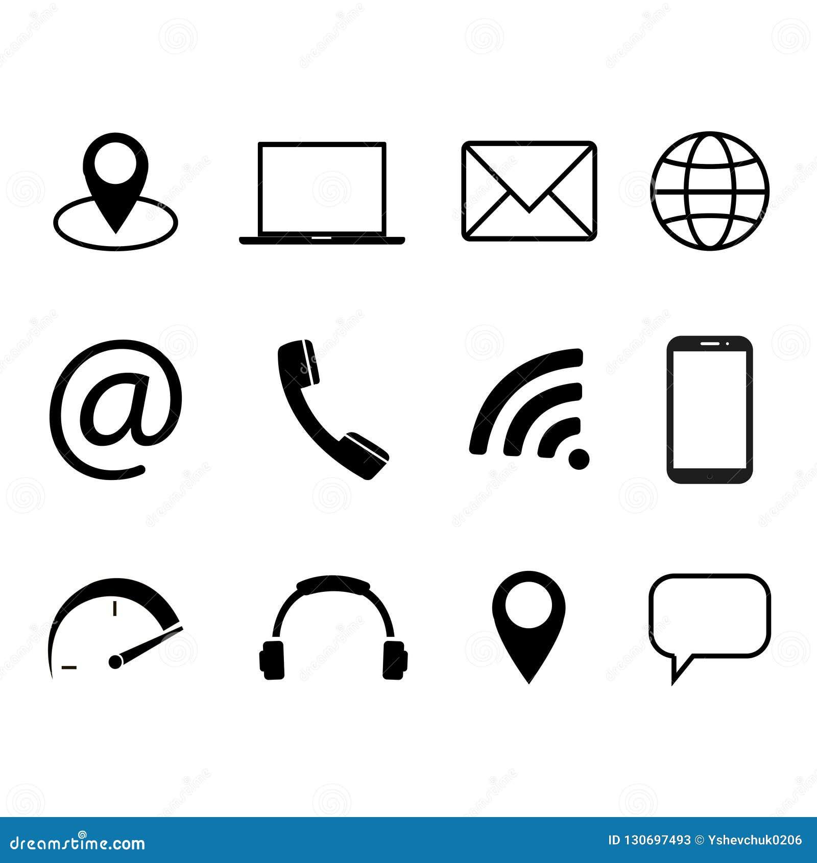 通信标志的汇集 联络,电子邮件,手机,消息,无线技术象 也corel凹道例证向量