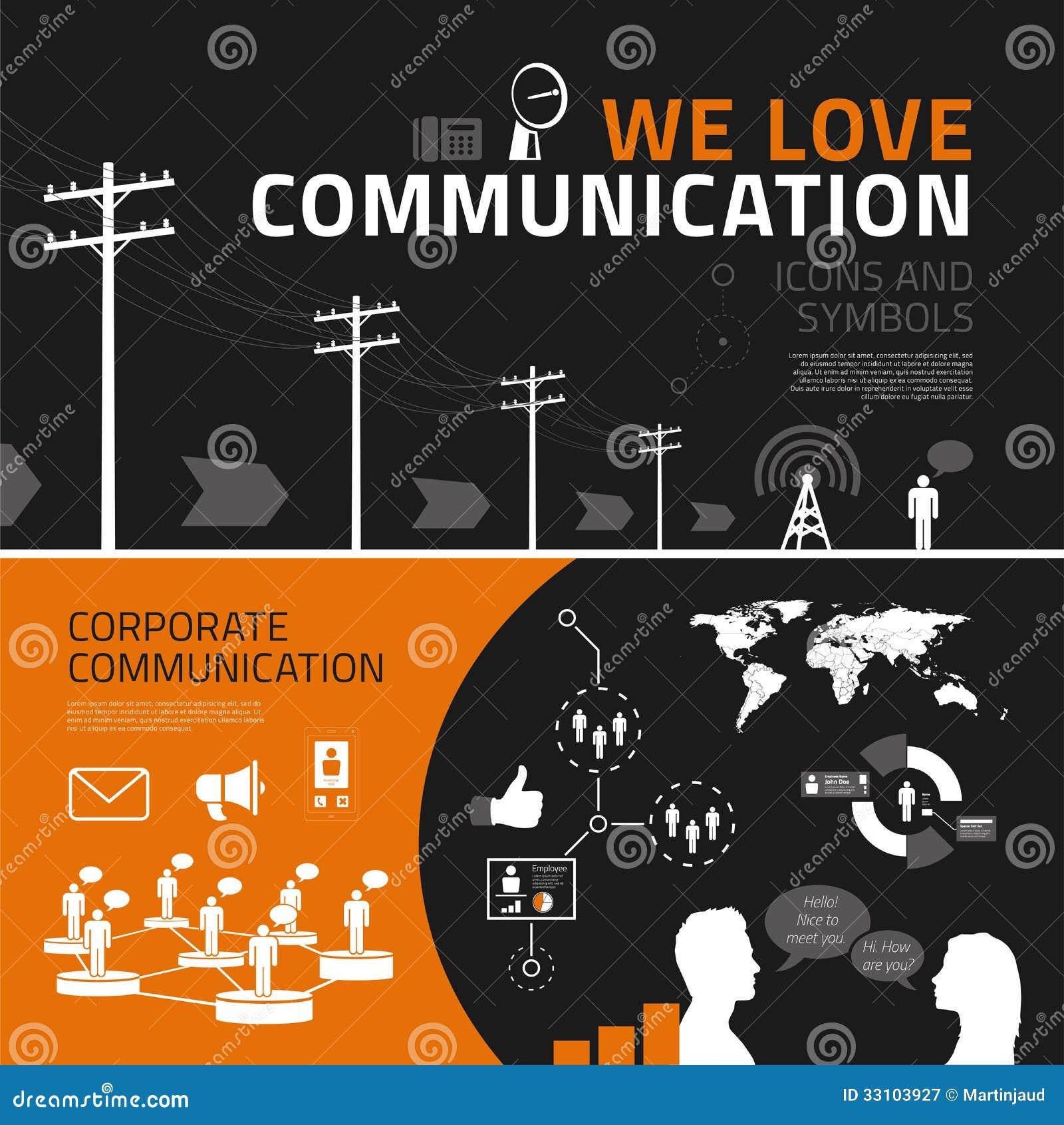 通信infographics元素、象和标志