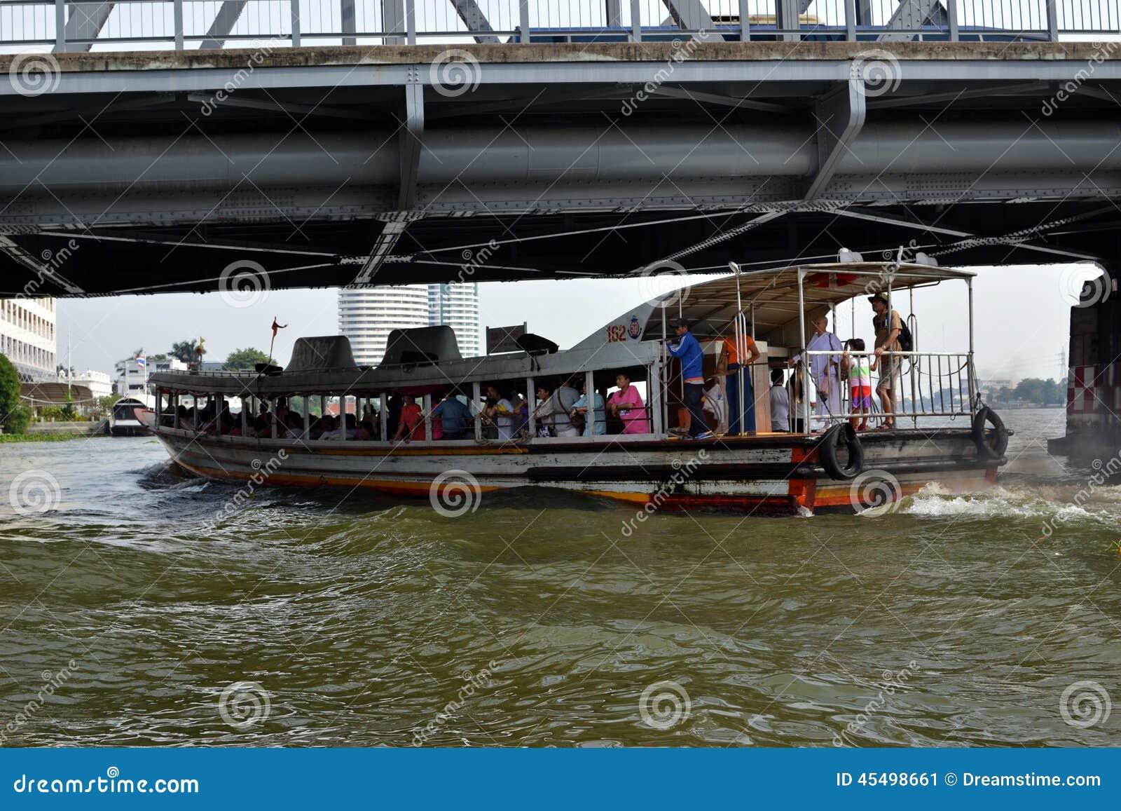 通勤者小船,高峰时间,曼谷,泰国