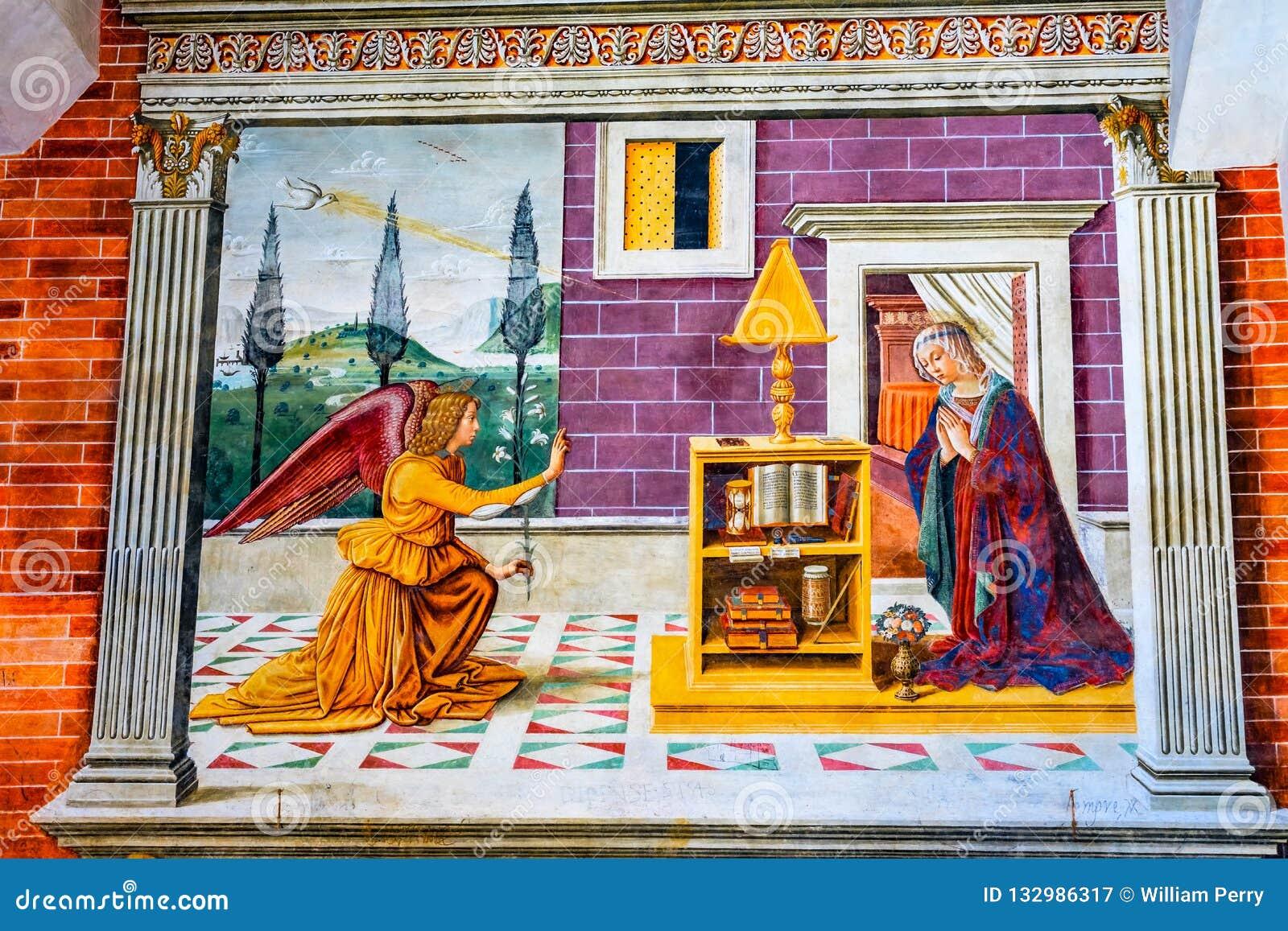 通告玛丽天使中世纪壁画教会圣吉米尼亚诺意大利