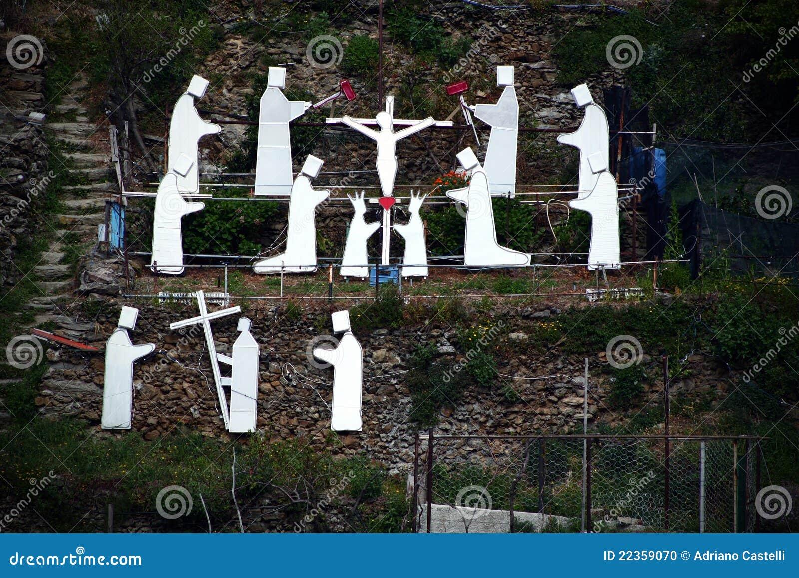 通过在Manarola的Crucis,意大利