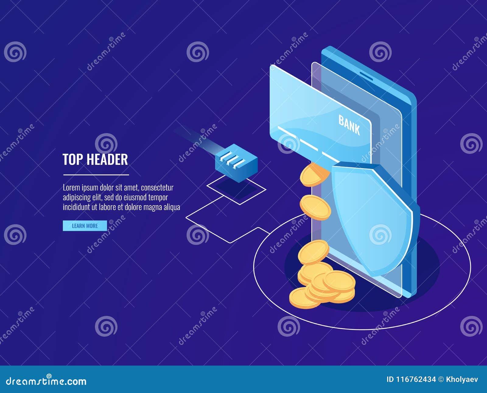 通过移动设备、网上付款、信用卡与智能手机和盾,电子金钱获取银行汇款