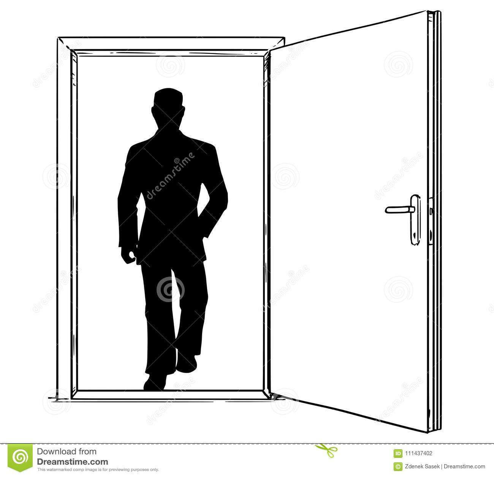 通过走开放现代门和的商人动画片