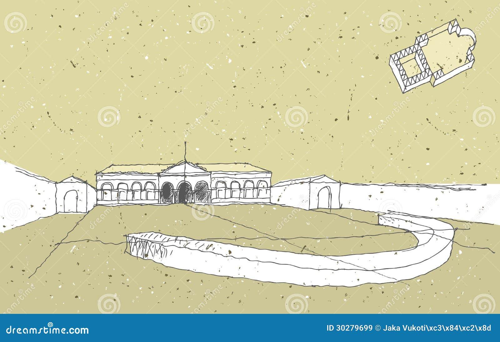 速写历史建筑学在意大利