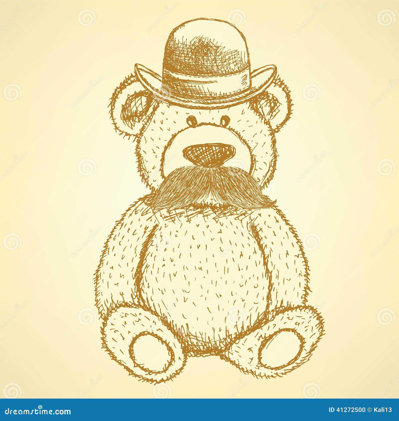 速写玩具熊在有髭的,葡萄酒背景帽子.图片