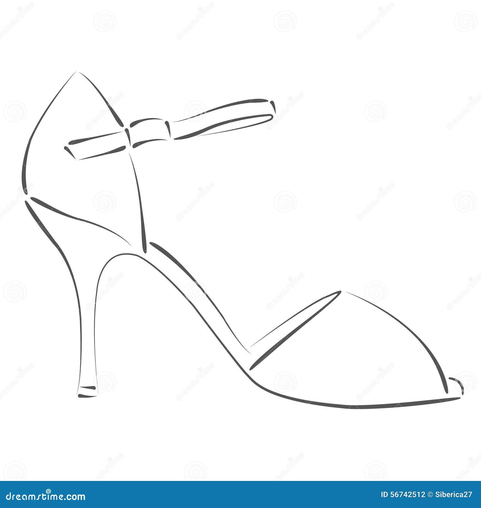 速写的妇女s鞋子图片