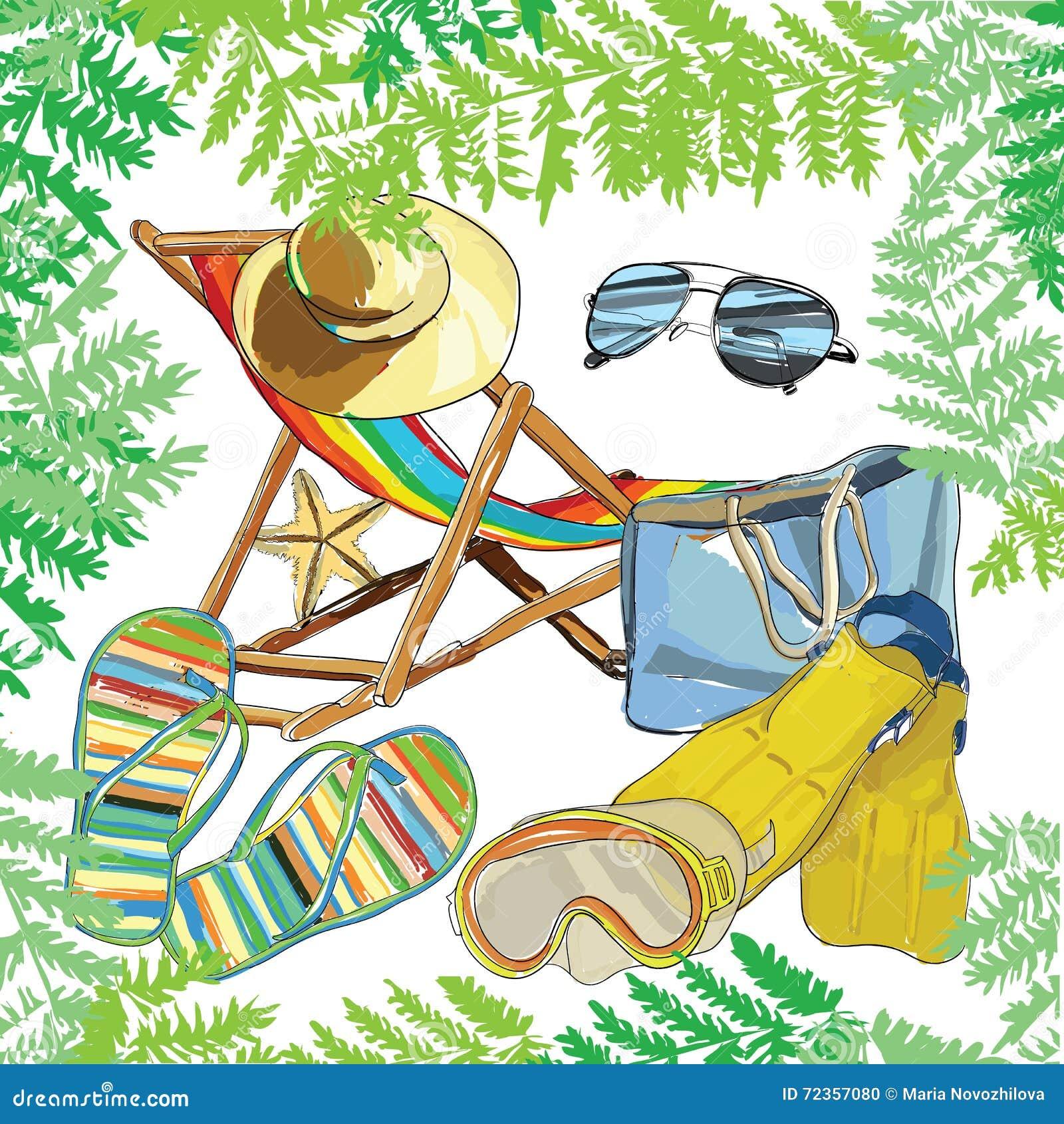 仿造夏天e,在沙子的可躺式椅与帽子,太阳镜, bal
