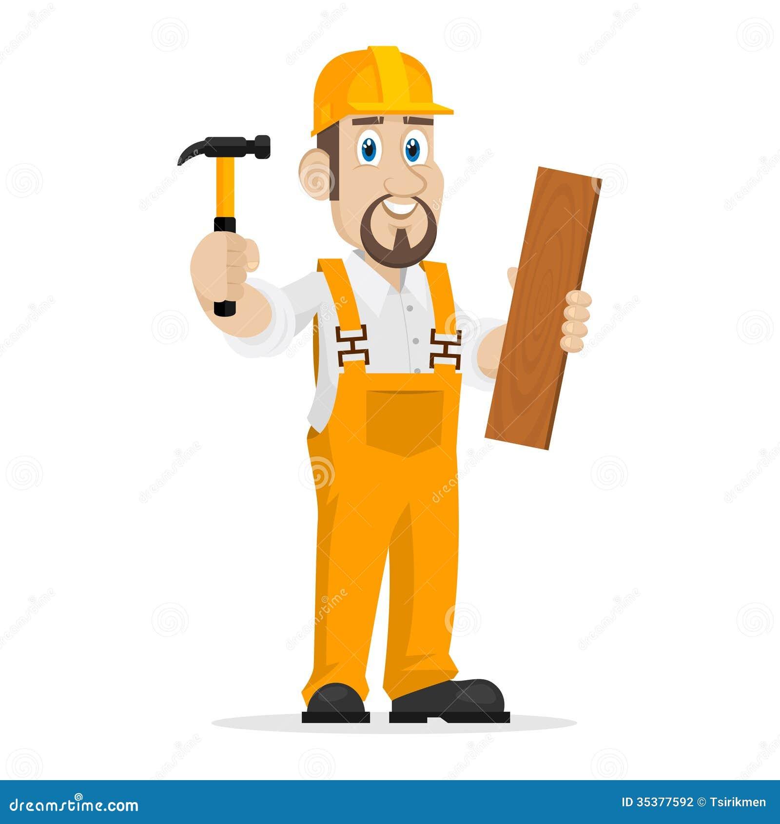 图库摄影: 建造者拿着锤子和木板图片