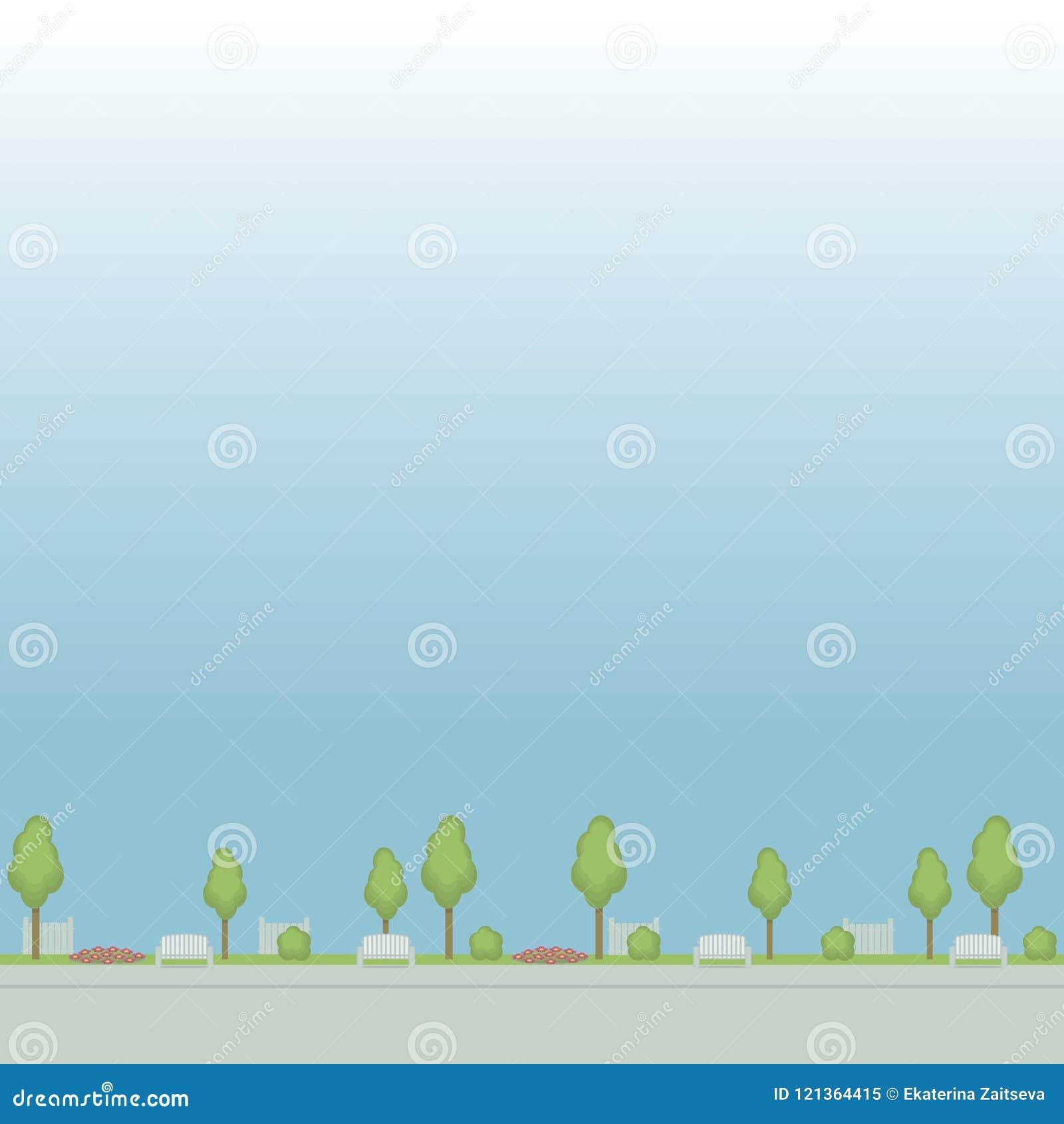遏制公园街道的无缝的传染媒介样式绘了花圃篱芭花圃的树在蓝色背景的