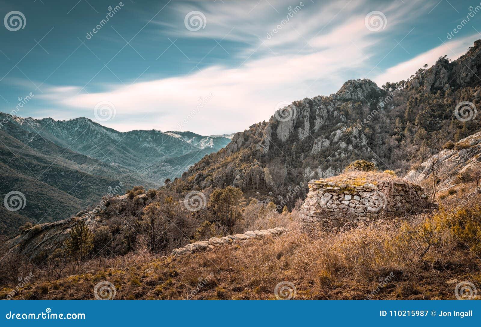 遗弃石buiding在Venaco附近的山在可西嘉岛