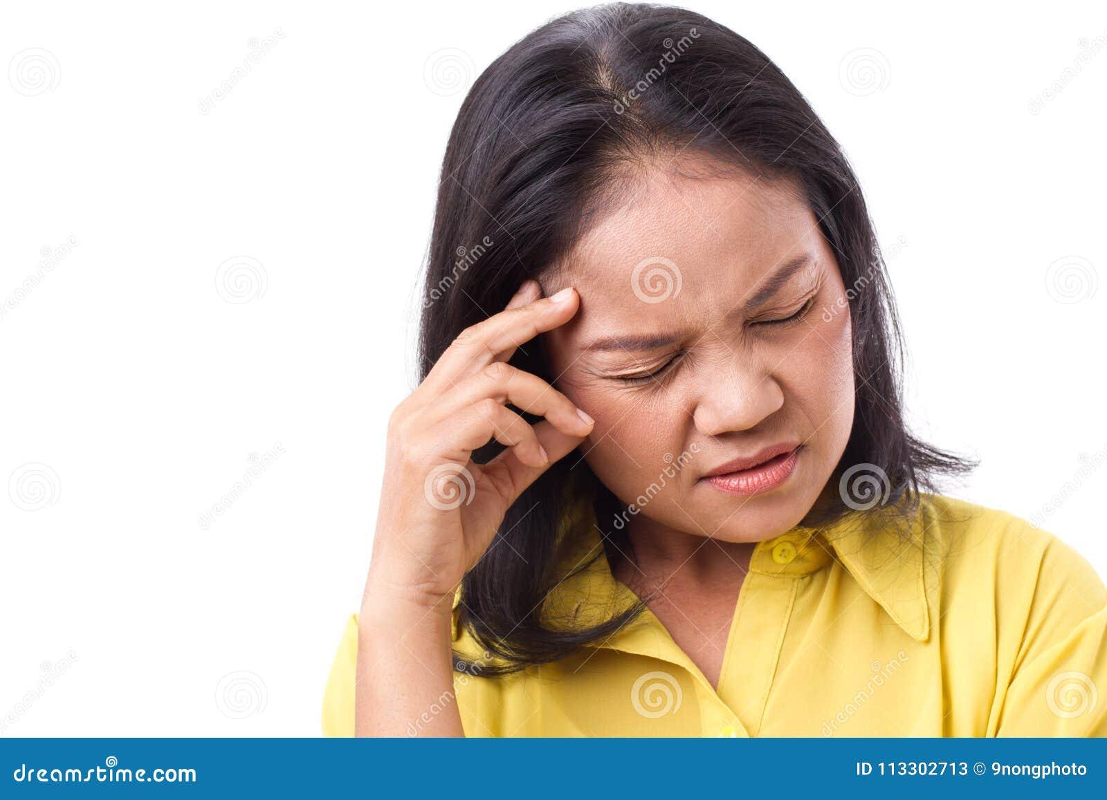遭受头疼或重音的沮丧的妇女充满锋利的剧痛