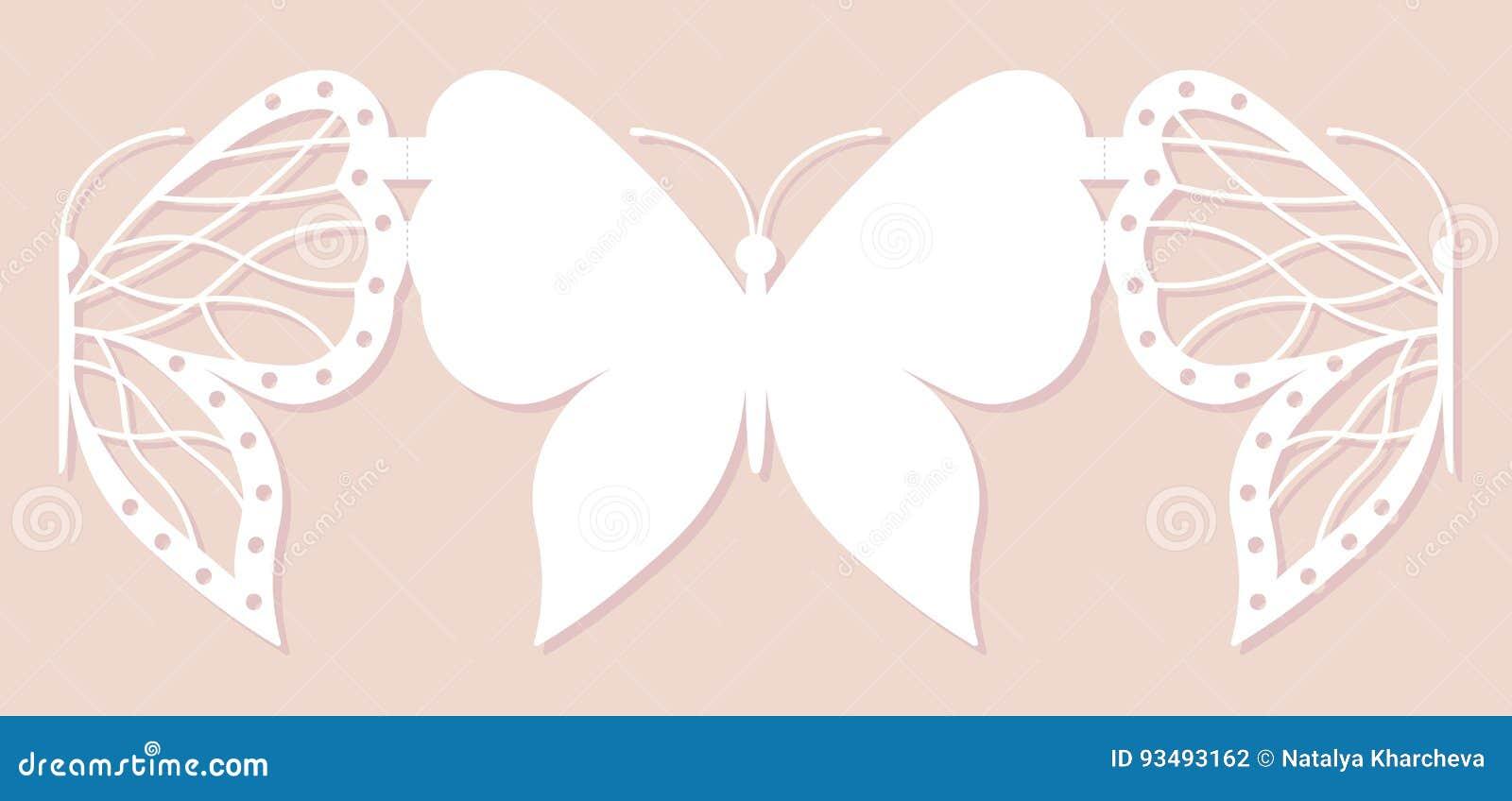 邀请卡片,婚姻的装饰,设计元素 典雅的蝴蝶激光裁减 也corel凹道例证向量