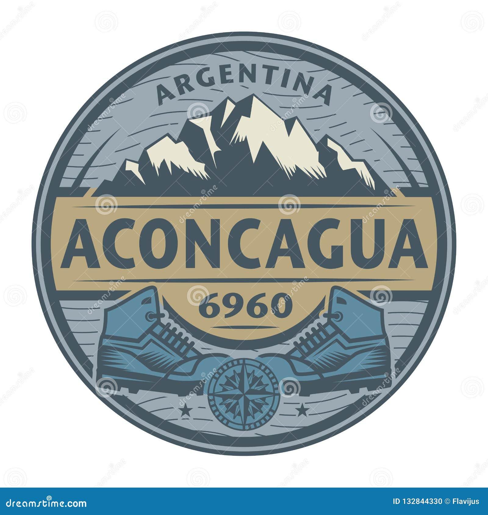 邮票或象征与文本阿空加瓜,阿根廷