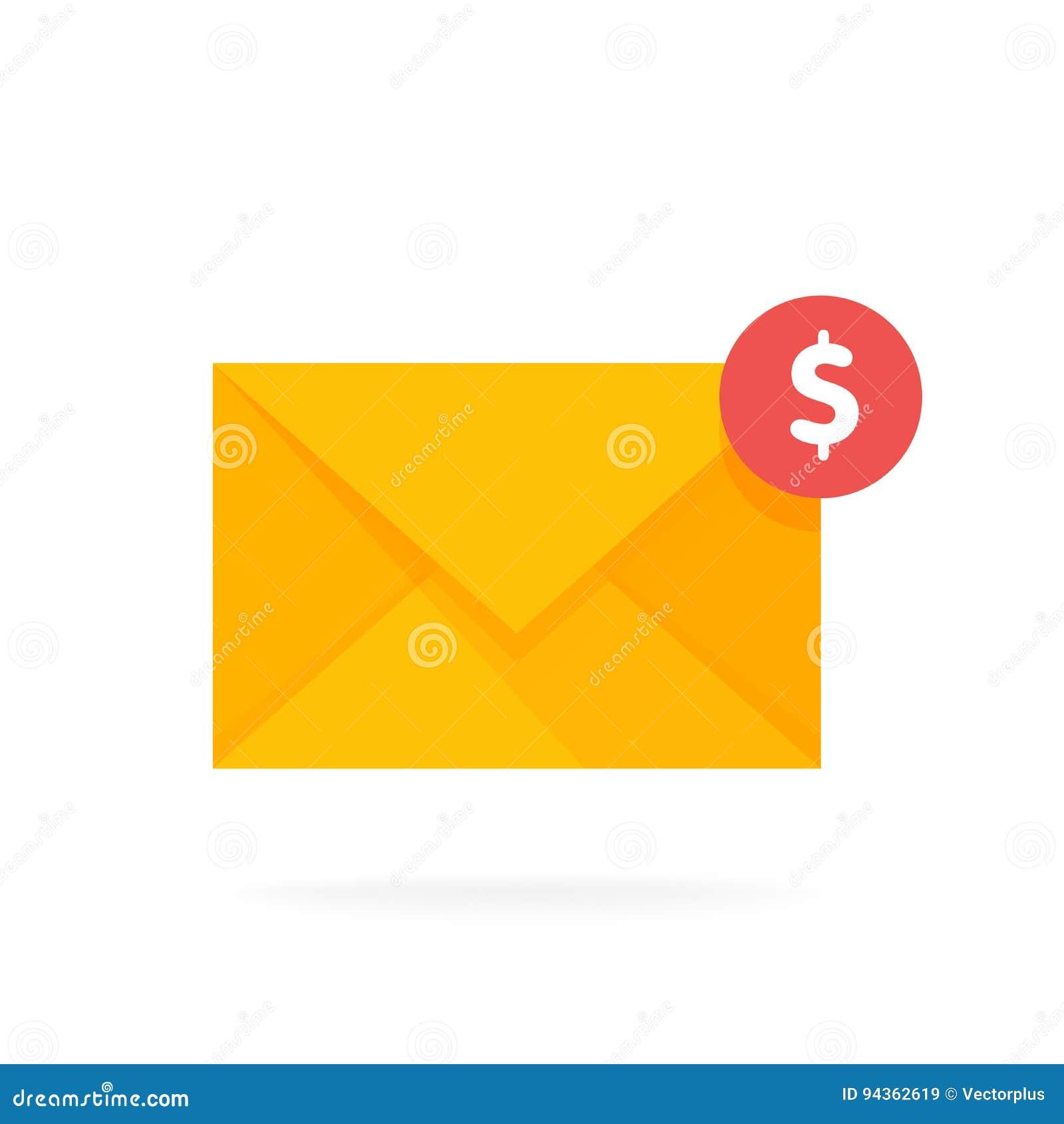 邮件与美元硬币的信封象 电子邮件送金钱概念传染媒介例证