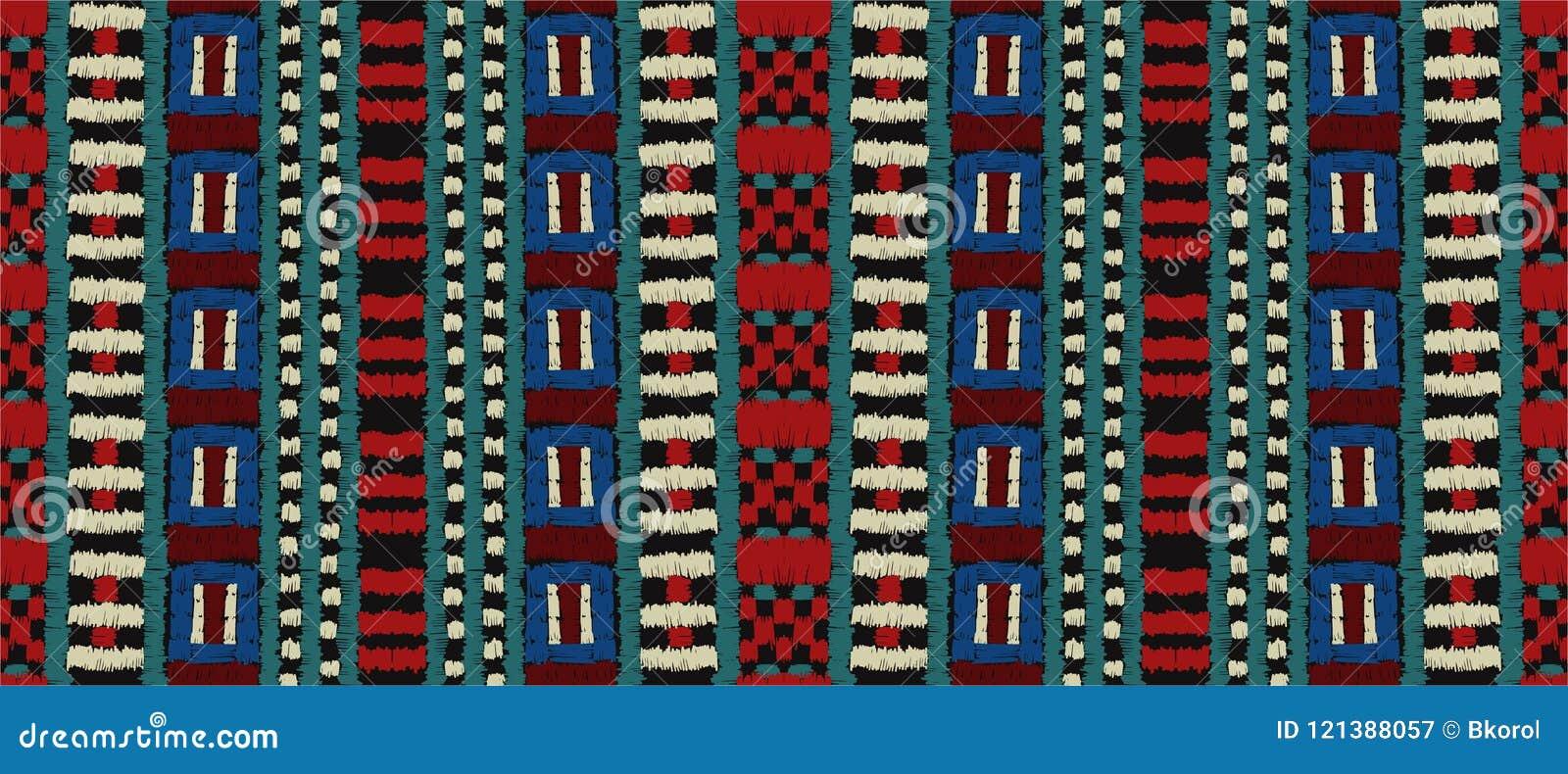 部族传染媒介装饰品 无缝非洲的模式 有V形臂章的种族地毯 阿兹台克样式