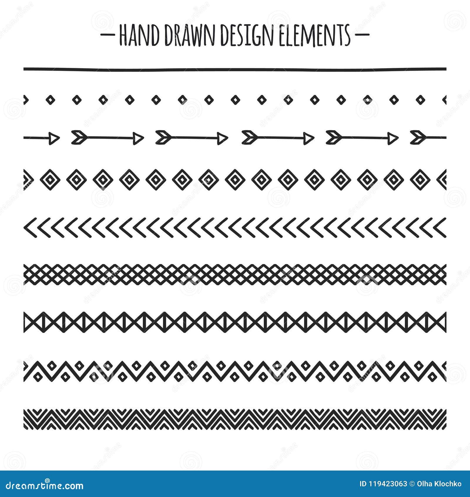 部族刷子 边界 种族手拉的传染媒介边界线集合 设计要素例证图象向量 当地刷子 几何的阿兹台克人