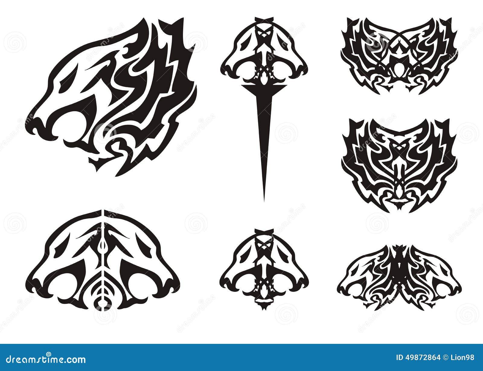 部族狮子头标志纹身花刺
