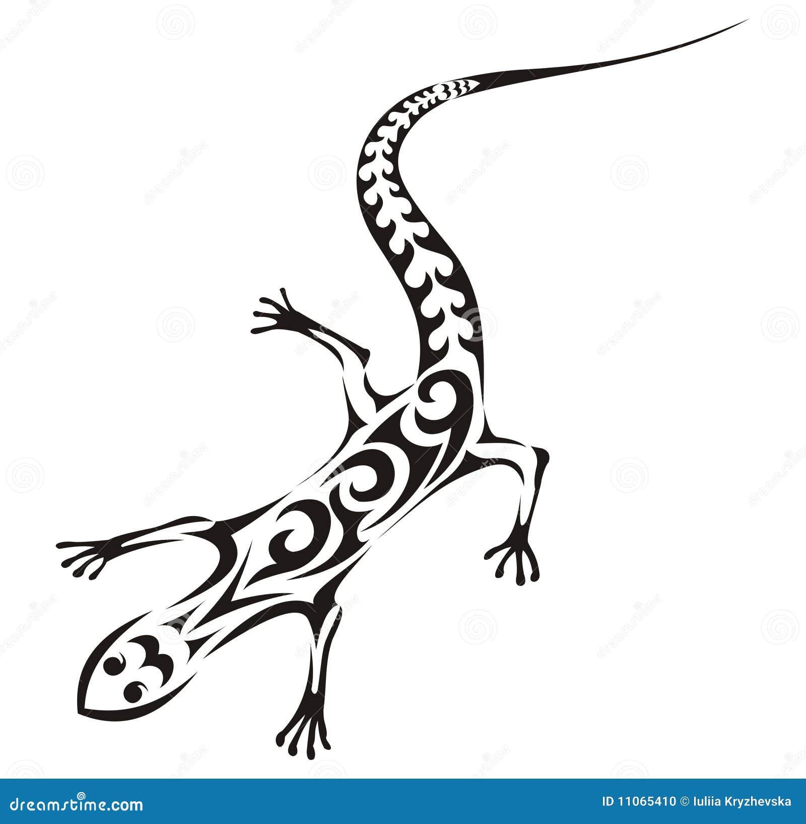 例证蜥蜴纹身花刺部族向量.