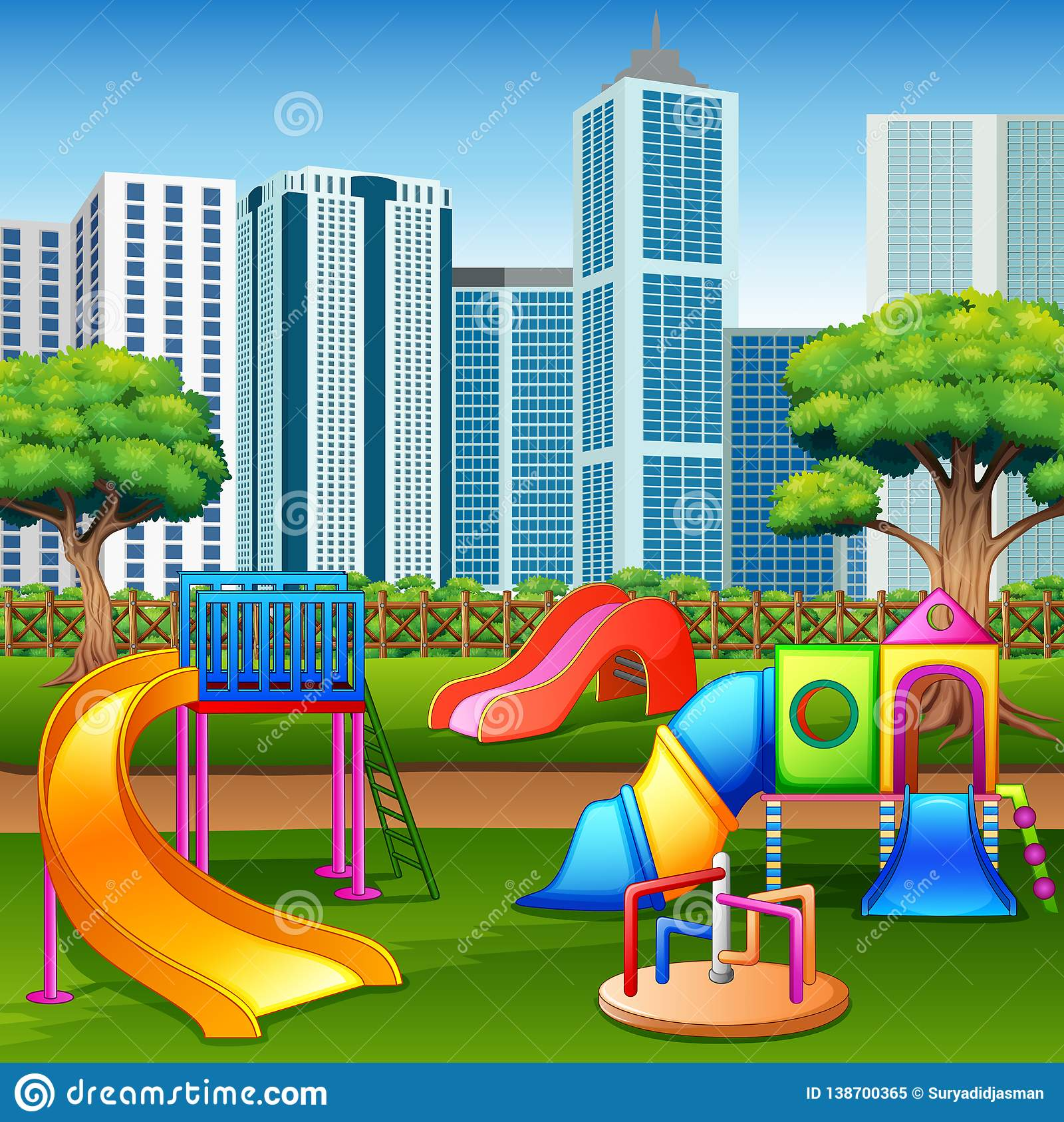 都市有孩子操场的夏天公园