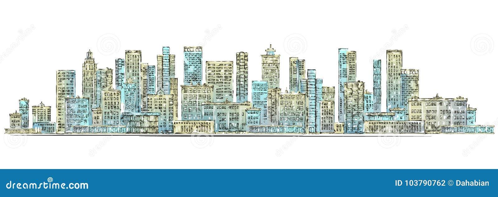 都市背景城市设计带淡红色的光芒地平线的星期日 拉长的现有量