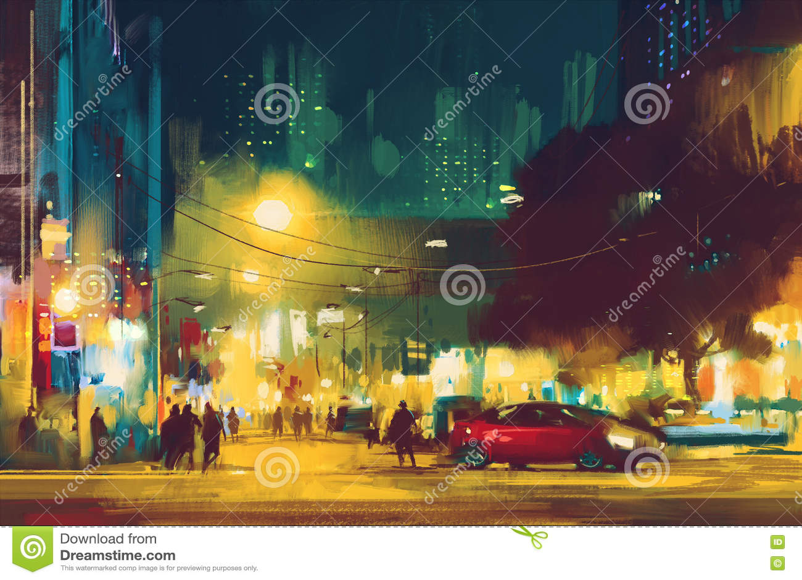 都市风景夜场面与照明的