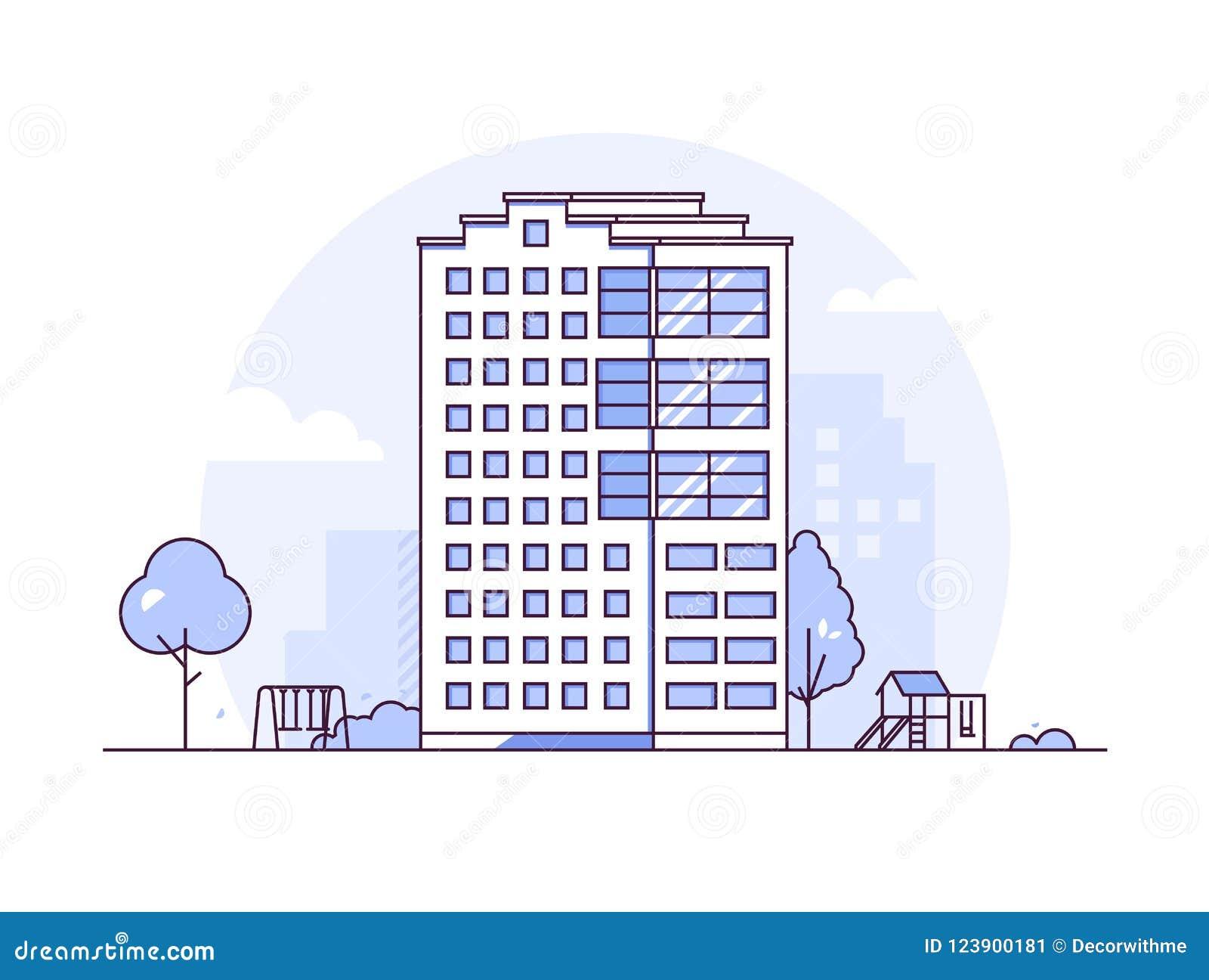 都市风景-现代稀薄的线设计样式传染媒介例证