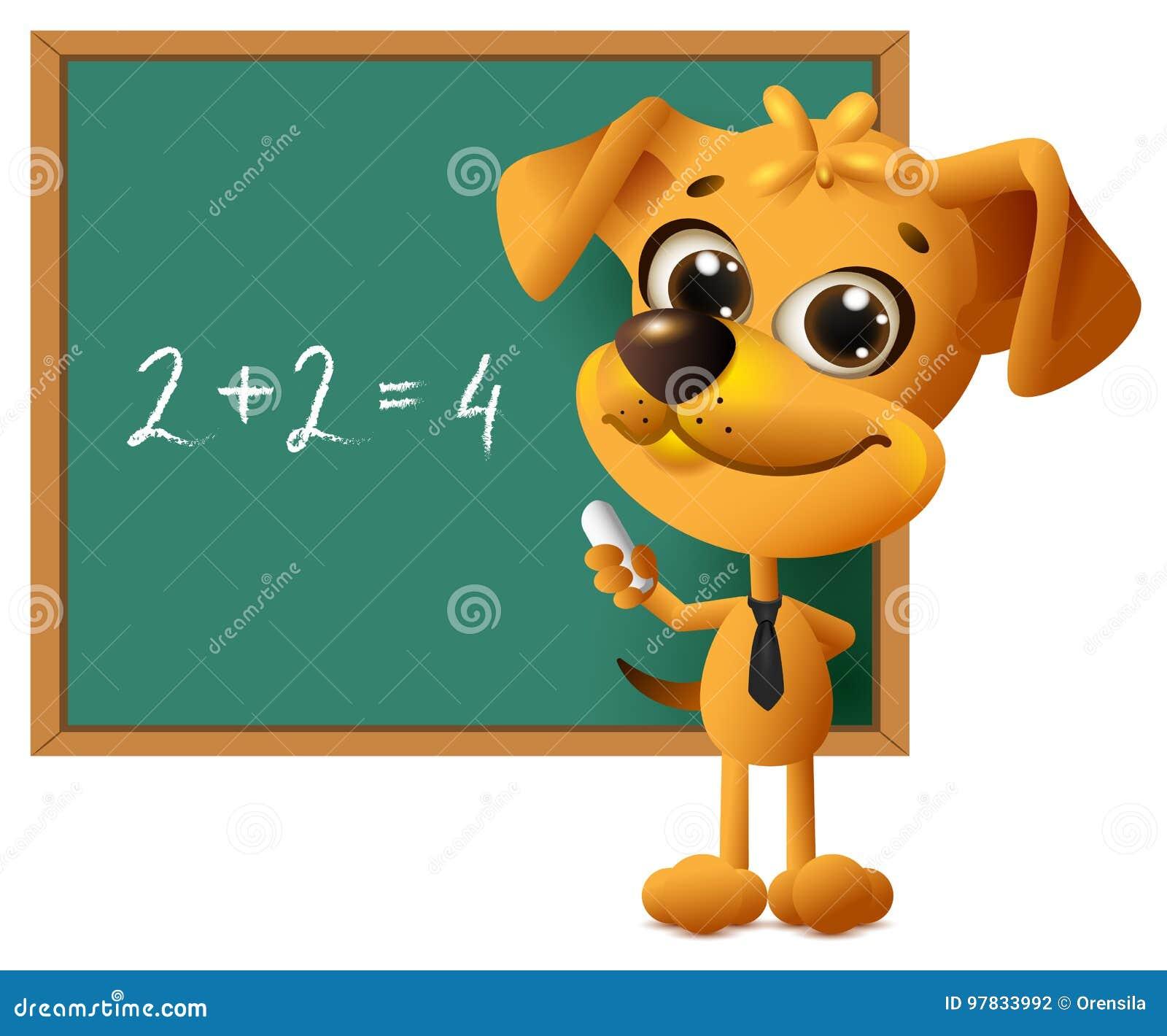 鄙人老师站立在黑板 算术教训两加上两均等四