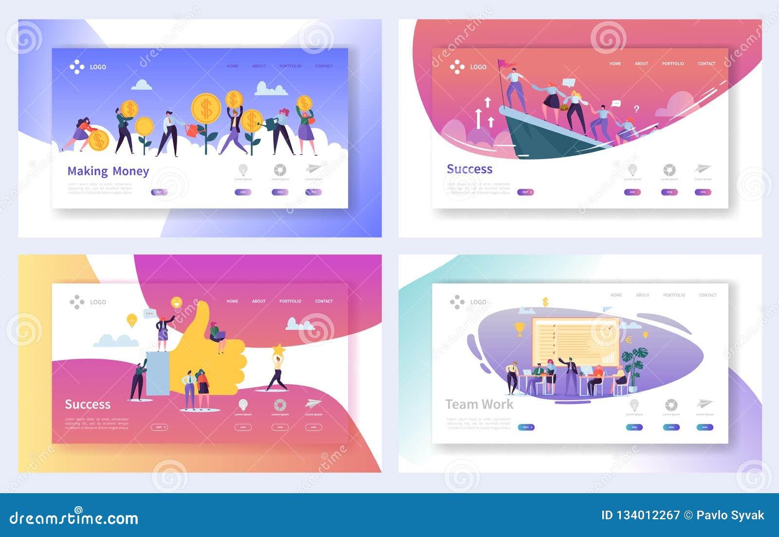 配合企业工作成功着陆页集合 刺激营销管理领导人网站的字符概念
