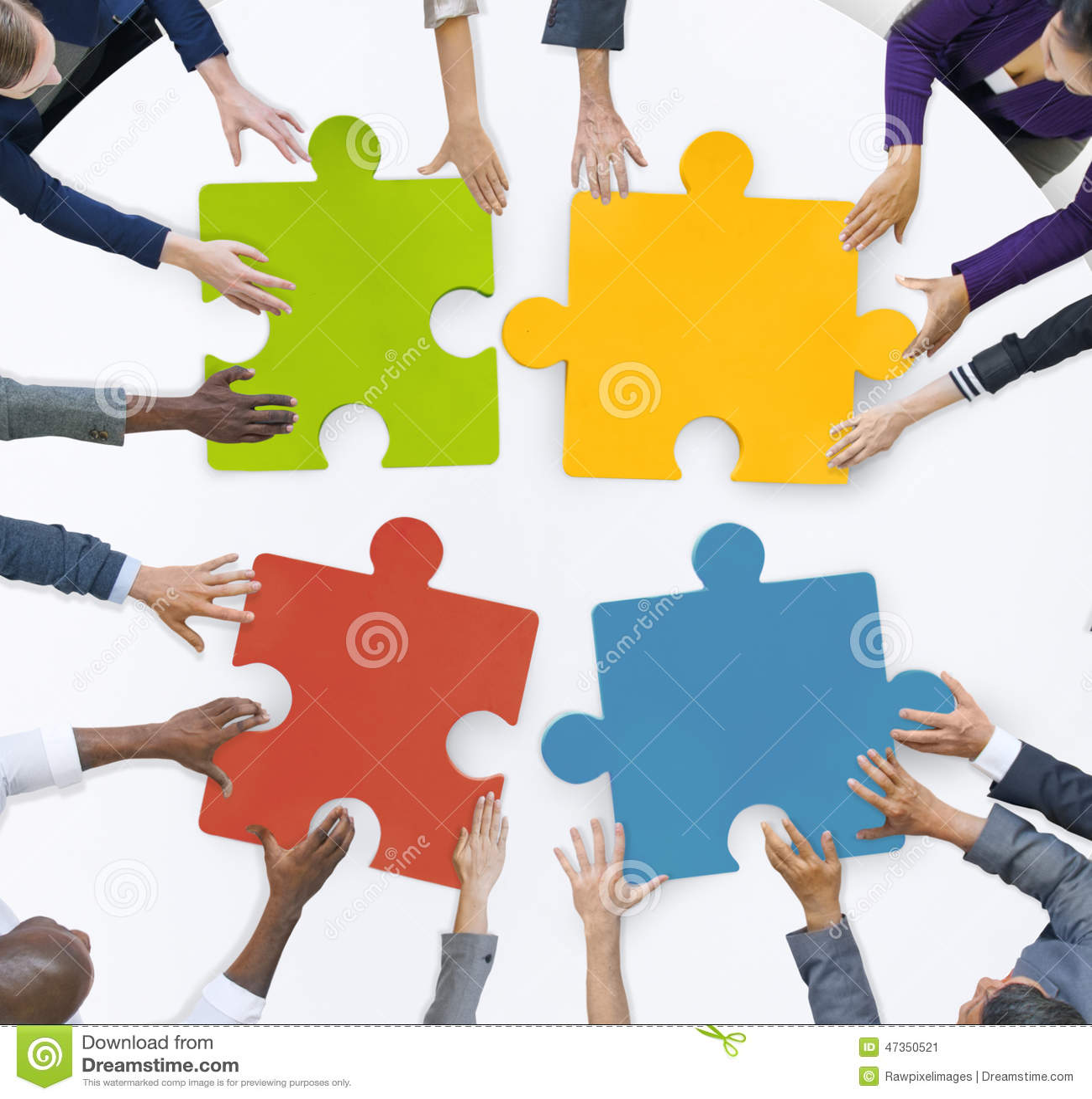 配合企业队会议团结七巧板概念