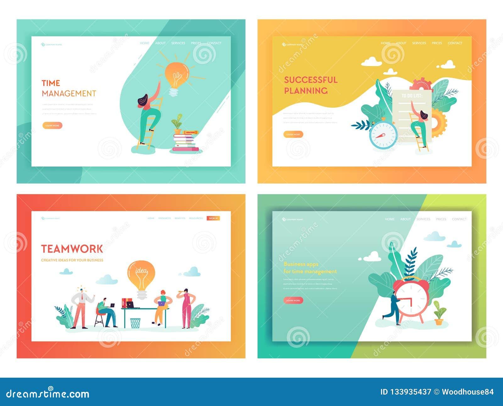 配合时间管理着陆页模板 企划与运作创造性的想法的字符的战略概念
