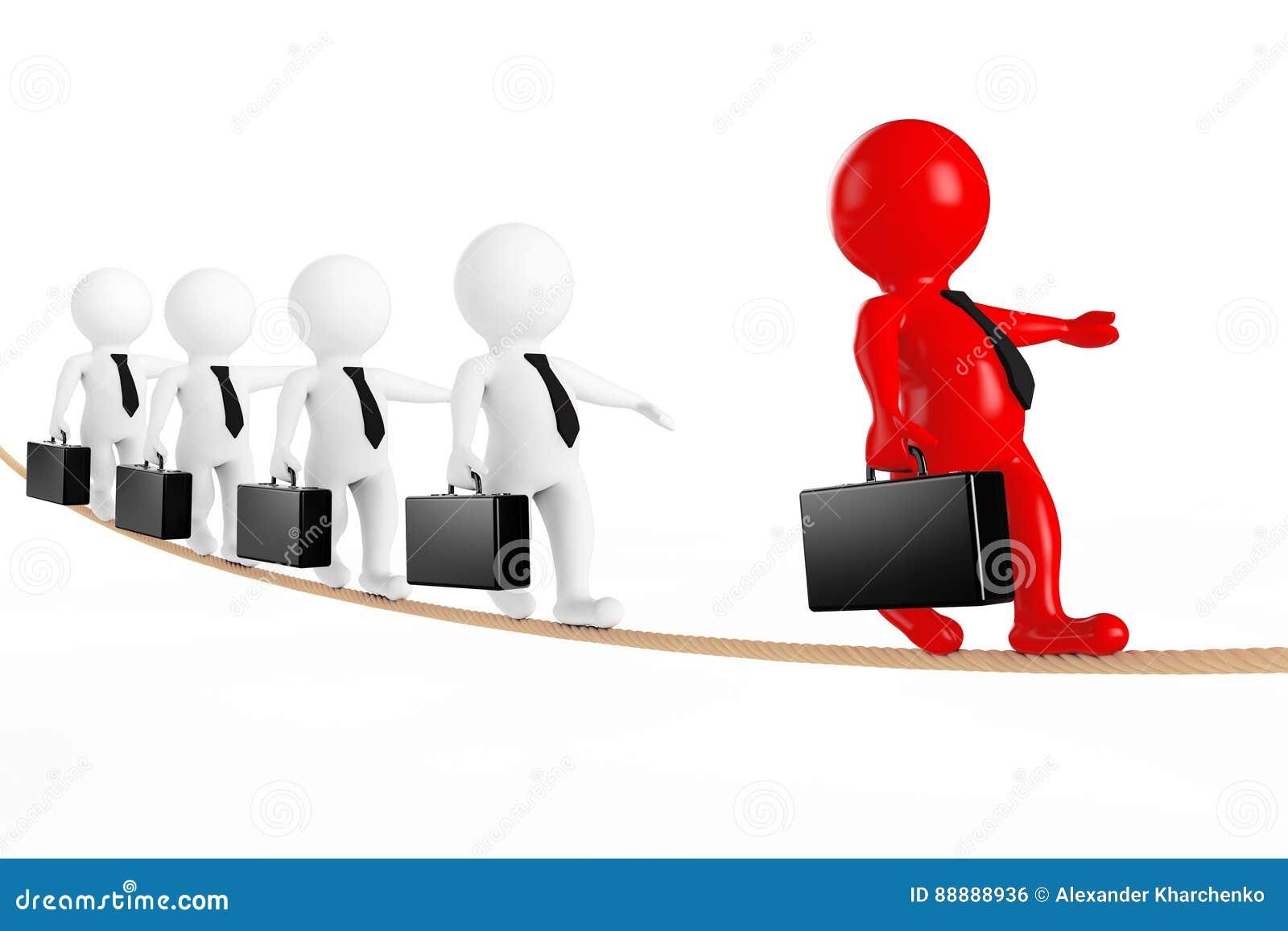 配合概念 与在绳索平衡的企业队的领导 3d
