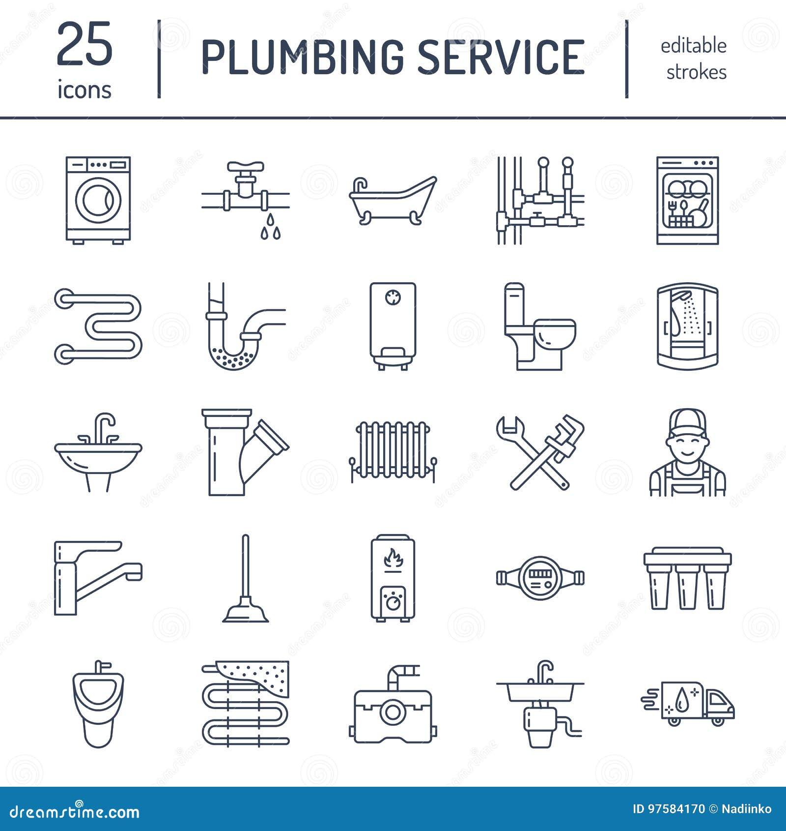 配管服务传染媒介平的线象 安置卫生间设备,龙头,洗手间,管道,洗衣机,洗碗机